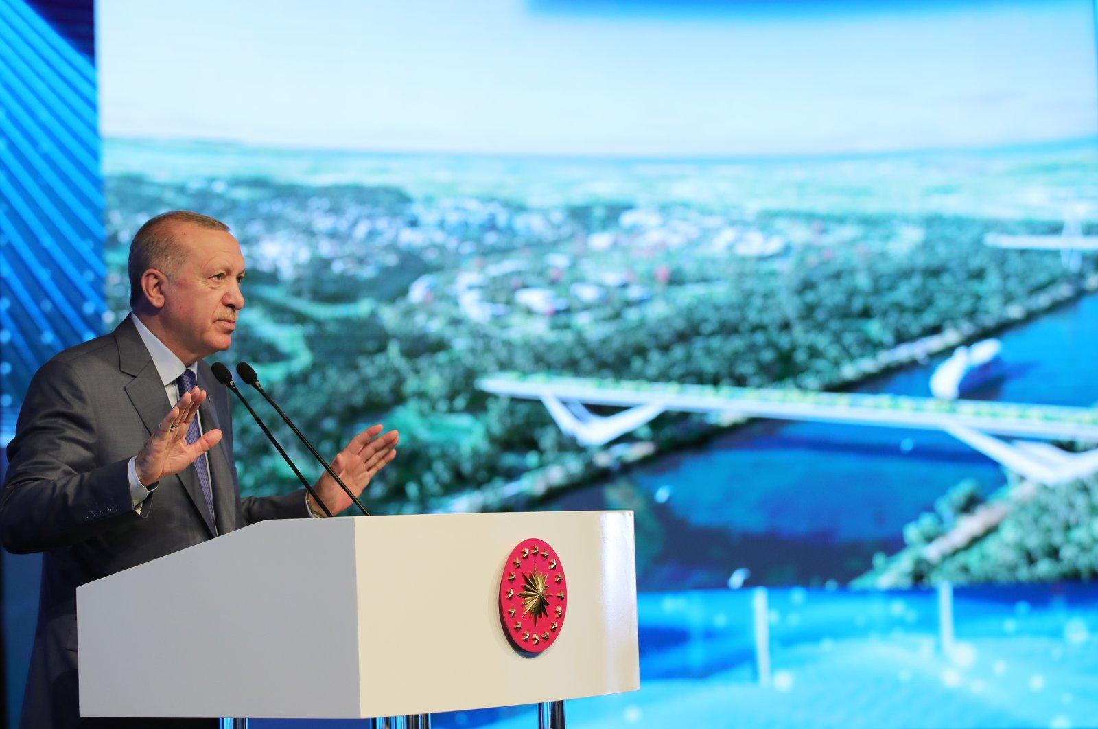 Turkish President Recep Tayyip Erdoğan speaks at the groundbreaking ceremony of Kanal Istanbul, June 26, 2021, Istanbul, Turkey. (AA Photo)