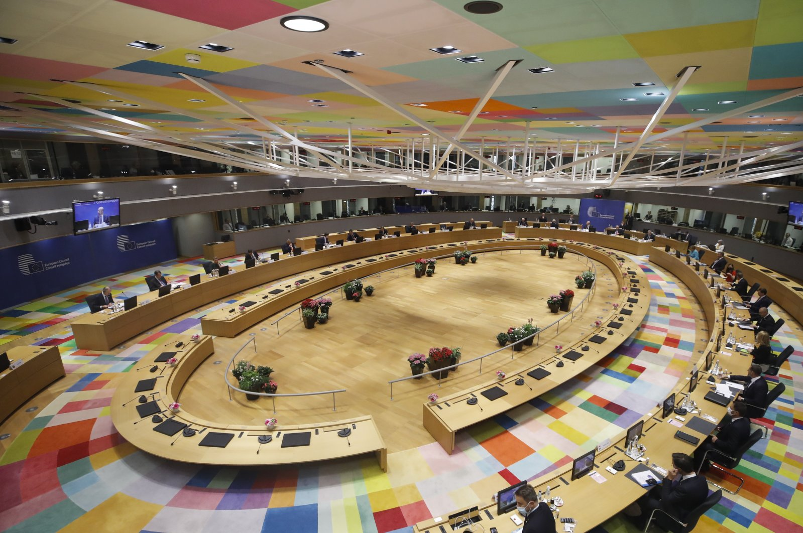 EU leaders gather in a main room during an EU summit at the European Council building in Brussels, Belgium, June 24, 2021. (AP Photo)