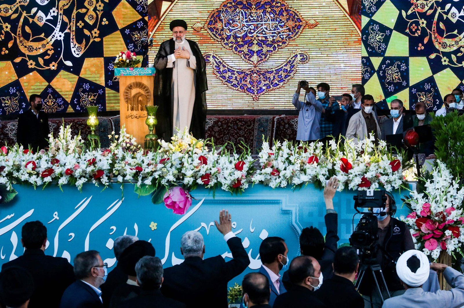 Iran's President-elect Ebrahim Raisi delivers a speech at the Imam Reza shrine in the city of Mashhad in northeastern Iran, June 22, 2021. (AFP Photo)