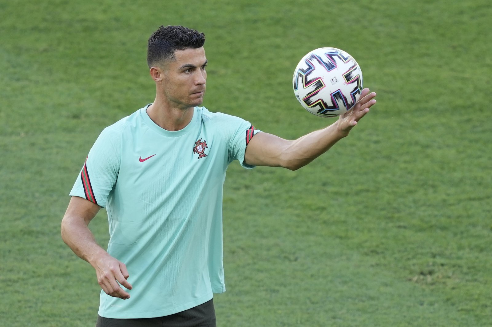 Portugal's Cristiano Ronaldo attends a training session in Seville, Spain, June 26, 2021. (EPA Photo)