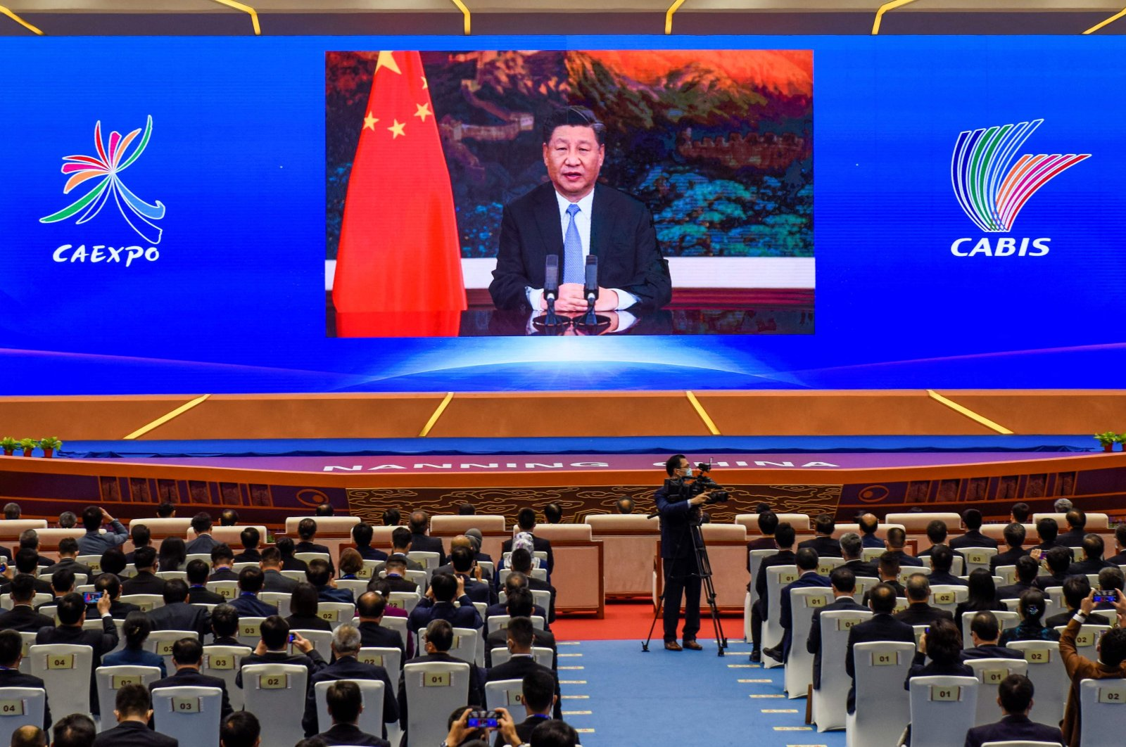 Chinese President Xi Jinping delivers a speech via video at the opening ceremony of the 17th China-ASEAN (Association of Southeast Asian Nations) Expo in Nanning, in southern China's Guangxi province, Nov. 27, 2020. (AFP Photo)