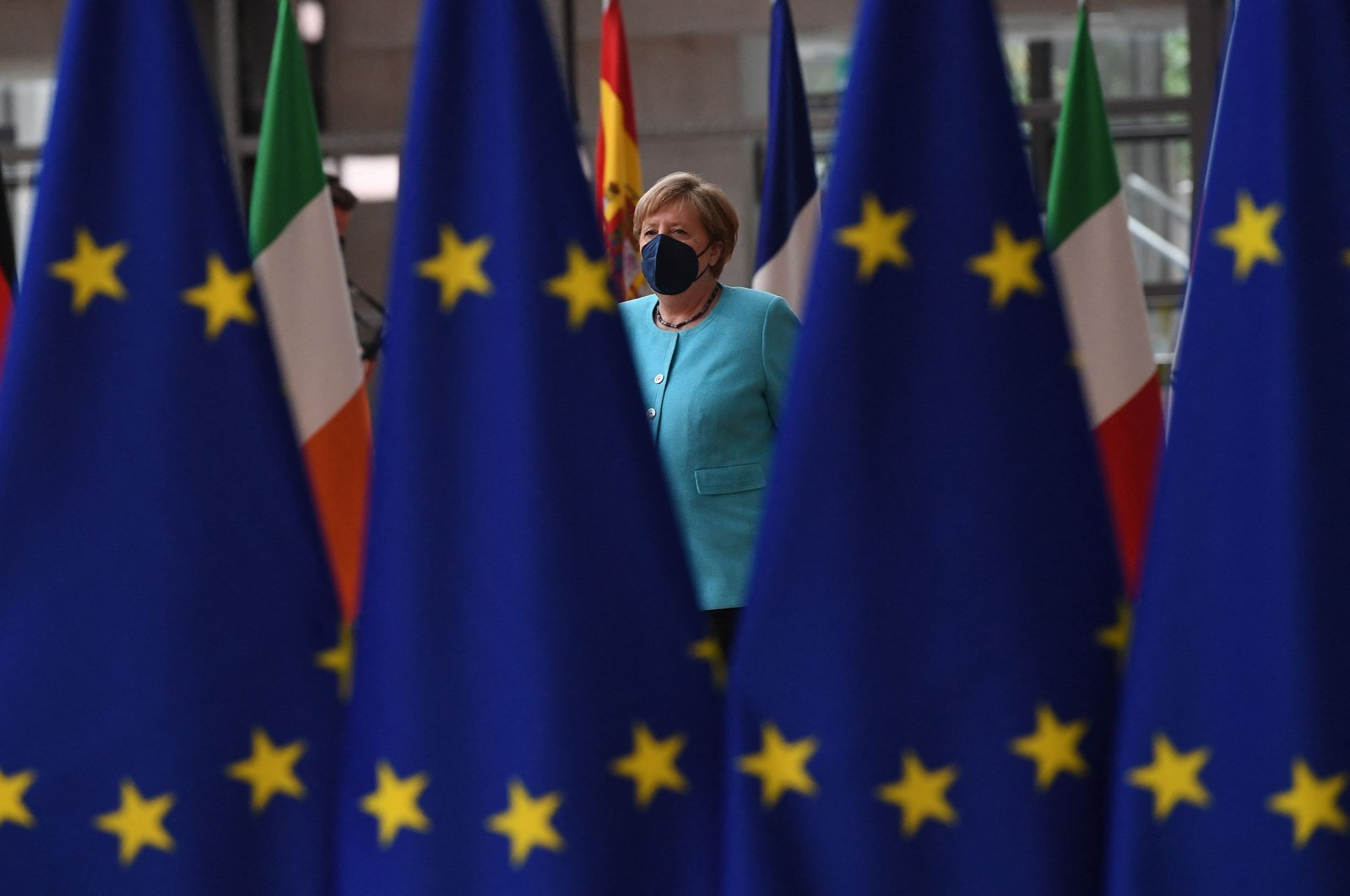 Germany's Chancellor Angela Merkel arrives on the first day of a European Union summit in Brussels, Belgium, June 24, 2021. (AFP Photo)