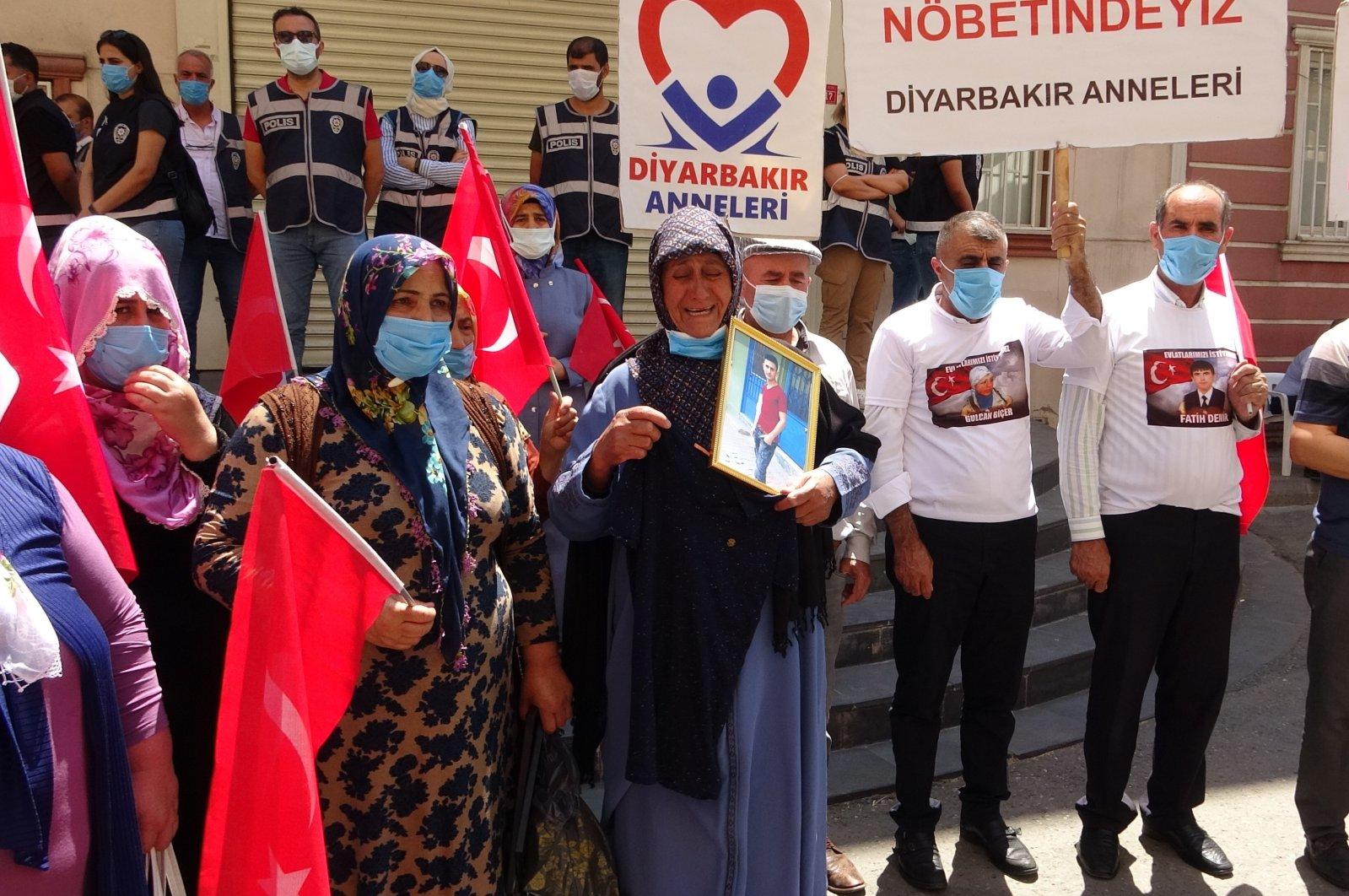 Families protest the PKK terrorist group in Turkey's southeastern Diyarbakır province, June 25, 2021. (IHA Photo)