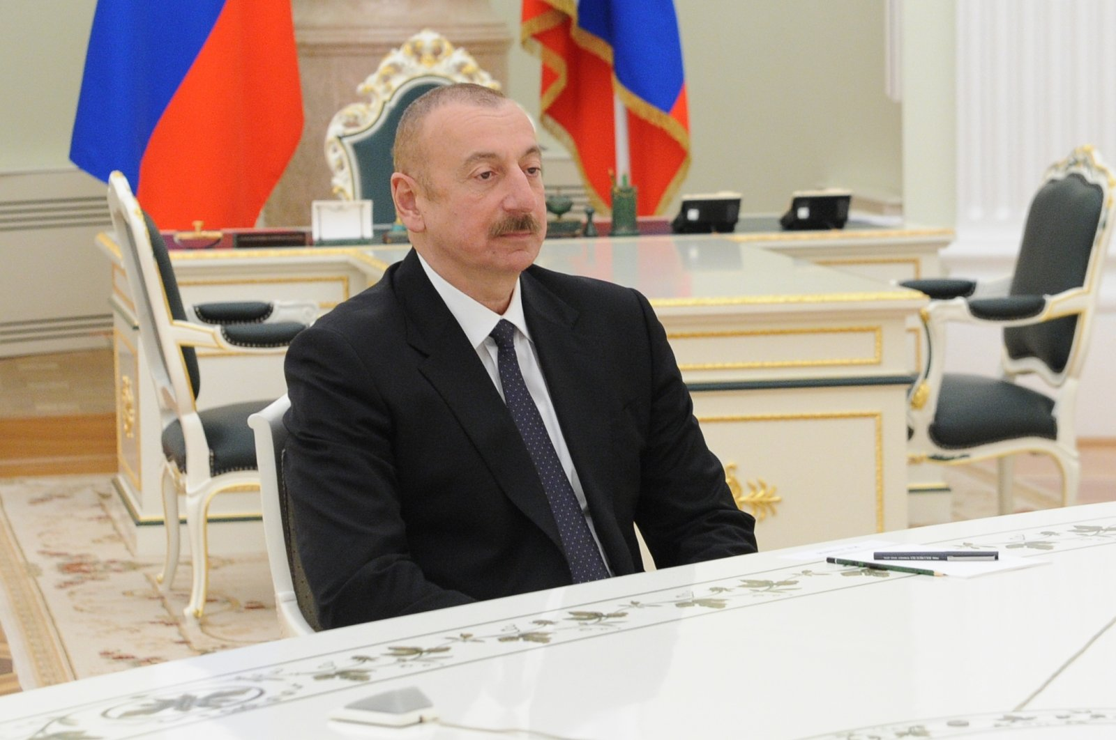 Azerbaijan's President Ilham Aliyev is seen during a trilateral meeting with the president of Russia and the prime minister of Armenia to discuss the implementation of the tripartite statement on Nagorno-Karabakh, Moscow, Russia, January 11, 2021. (Reuters Photo)