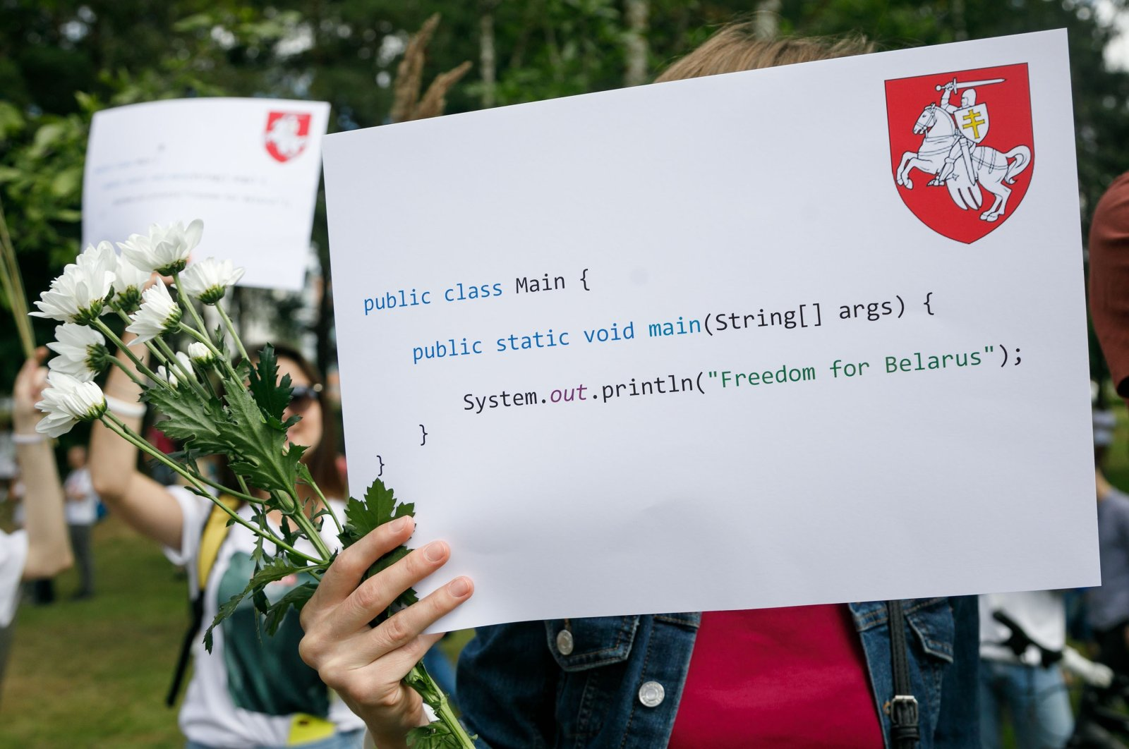 IT specialists rally near Hi-Tech park in support of detained and injured participants of the protests that erupted in the aftermath of the presidential election, Minsk, Belarus, Aug. 14, 2020. (Shutterstock Photo)