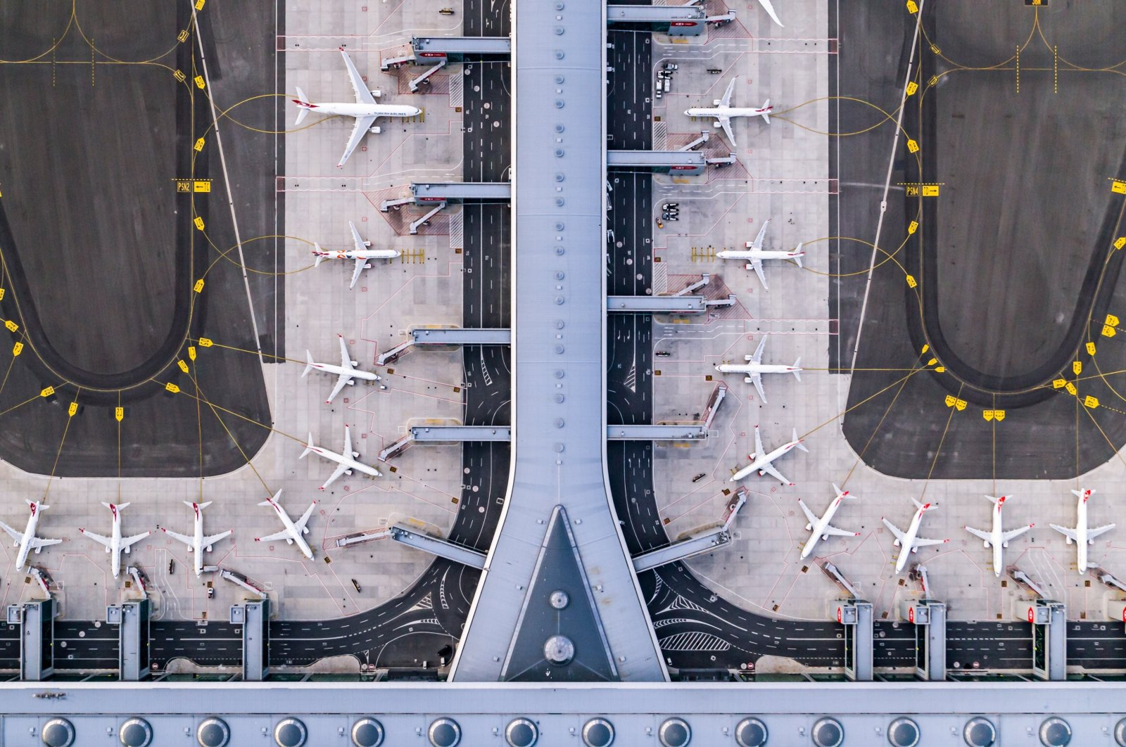 Drone footage provided on Dec. 15, 2020 shows planes parked at Istanbul Airport, Istanbul, Turkey. (Courtesy of Istanbul Airport operator IGA)