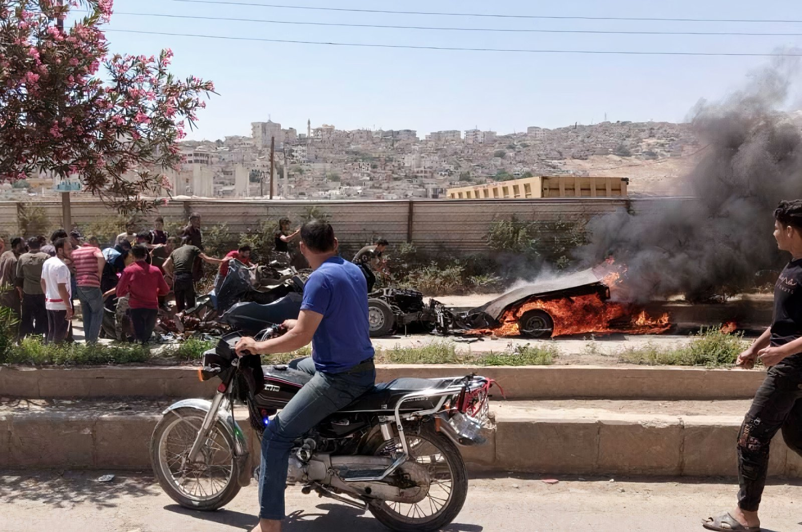 The aftermath of a terrorist attack in northern Syria's Afrin province, June 26, 2021 (AA Photo)
