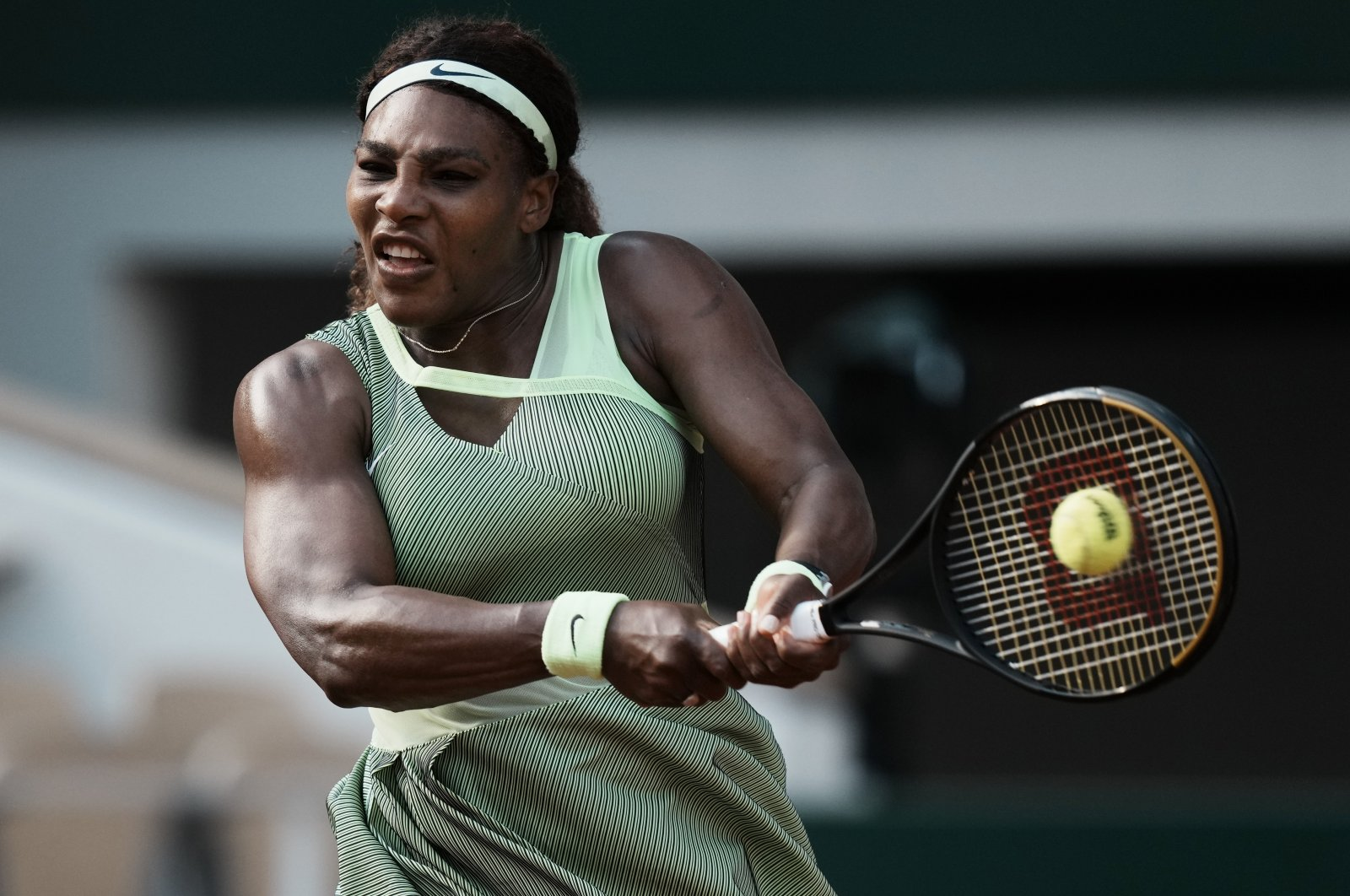 Serena Williams plays a return to Kazakhstan's Elena Rybakina during their fourth-round match on day 8 of the French Open tennis tournament at Roland Garros in Paris, France, June 6, 2021. (AP Photo)