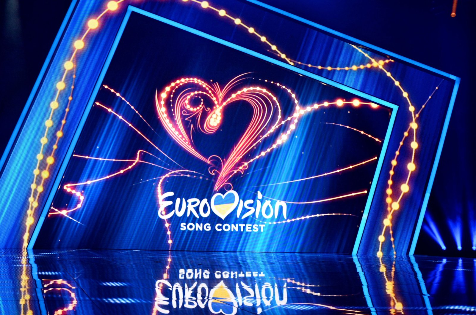 A scene with the Eurovision logo during national selection of the Eurovision 2020 from Ukraine. (Shutterstock Photo)