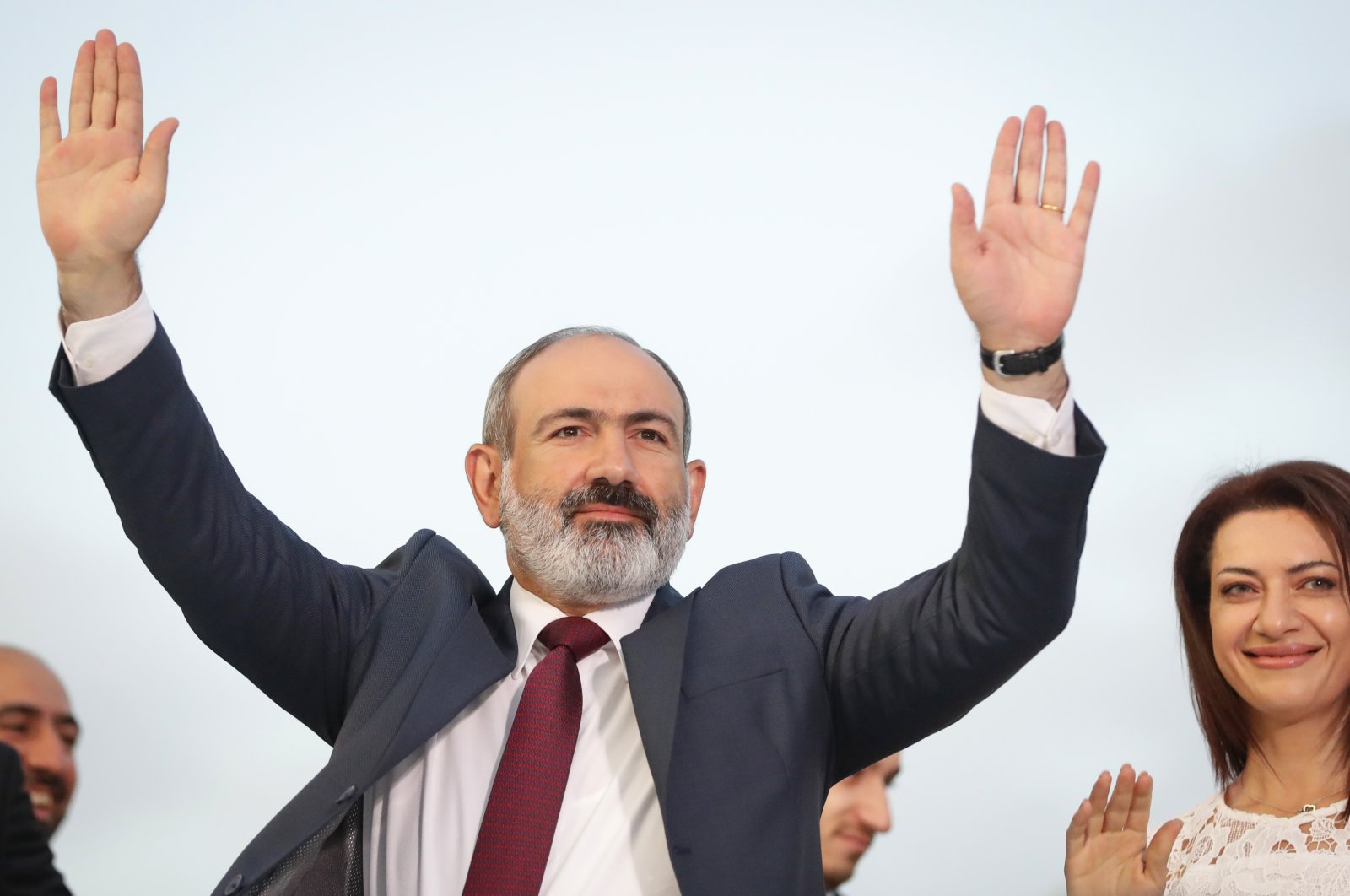 Armenian acting Prime Minister Nikol Pashinian greets his supporters during a rally after winning snap parliamentary elections in Yerevan, Armenia, June 21, 2021. (AP Photo)