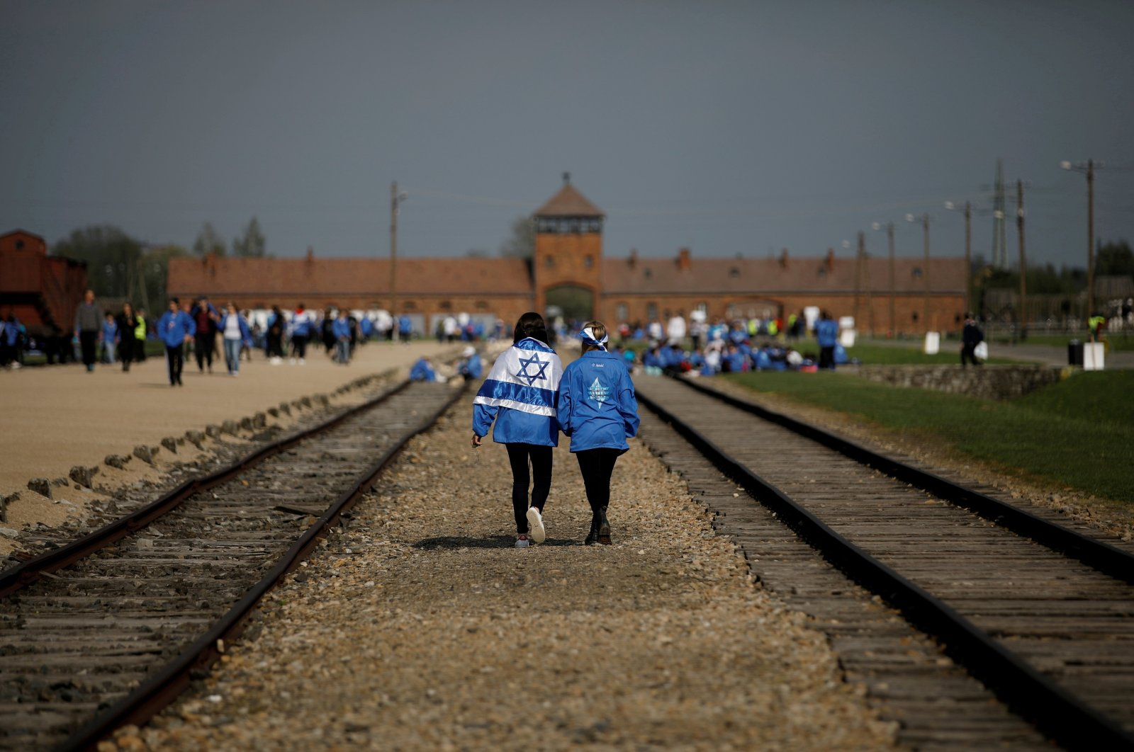 """Participants attend the annual """"March of the Living"""" to commemorate the Holocaust at the former Nazi concentration camp Auschwitz, in Brzezinka near Oswiecim, Poland, May 2, 2019. (Reuters Photo)"""