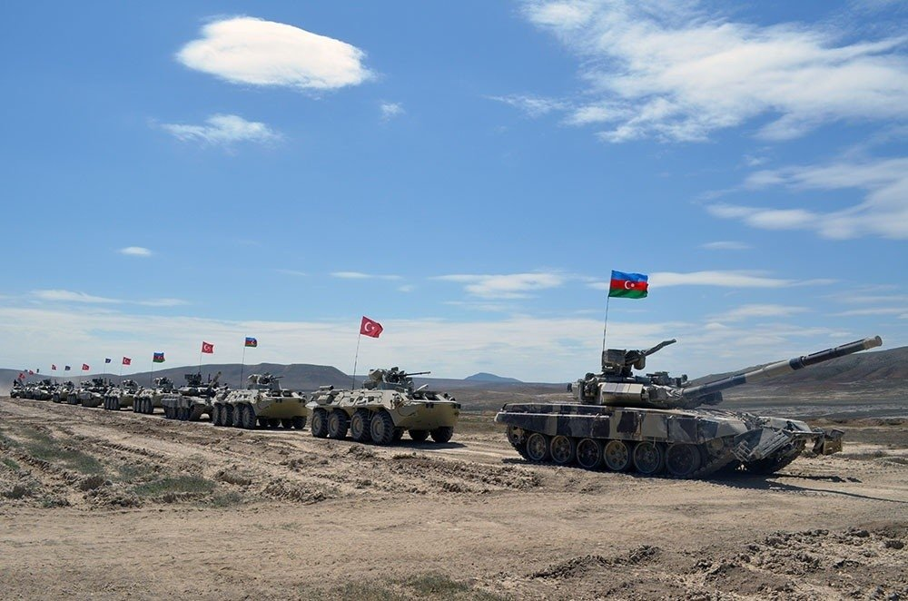 Turkish and Azerbaijani tanks participate in the joint military drill in Azerbaijan, June 28, 2021. (IHA Photo)