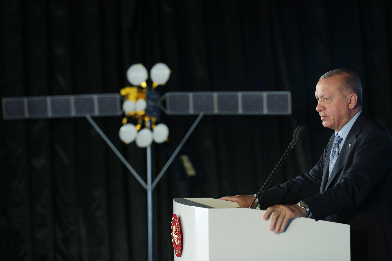President Recep Tayyip Erdoğan speaks during a ceremony to commission Türksat 5A communication satellite, Ankara, Turkey, June 28, 2021. (AA Photo)