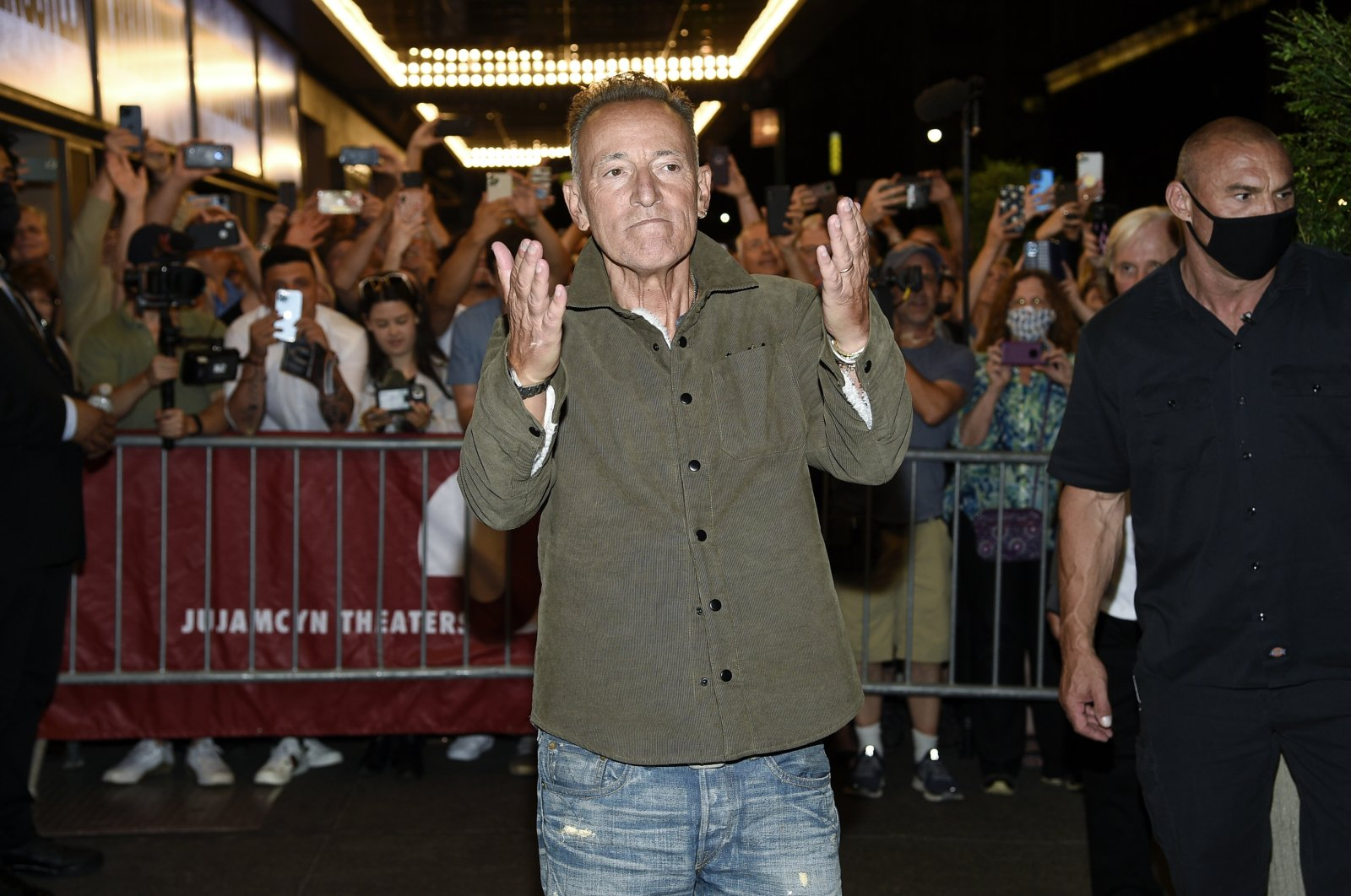"""Singer-songwriter Bruce Springsteen exits the stage door after the """"Springsteen On Broadway"""" reopening night performance at the Saint James Theater in New York, U.S., June 26, 2021. (AP Photo)"""