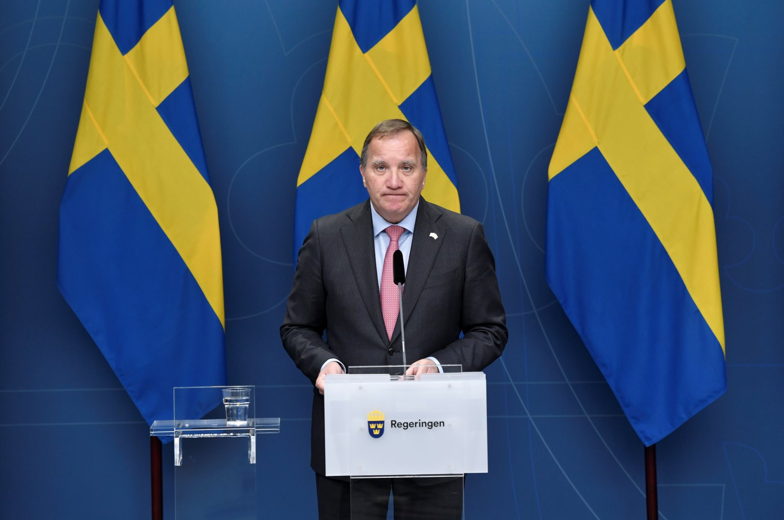 Swedish Prime Minister Stefan Lofven holds a news conference at Rosenbad in Stockholm, Sweden, June 28, 2021. (Reuters Photo)
