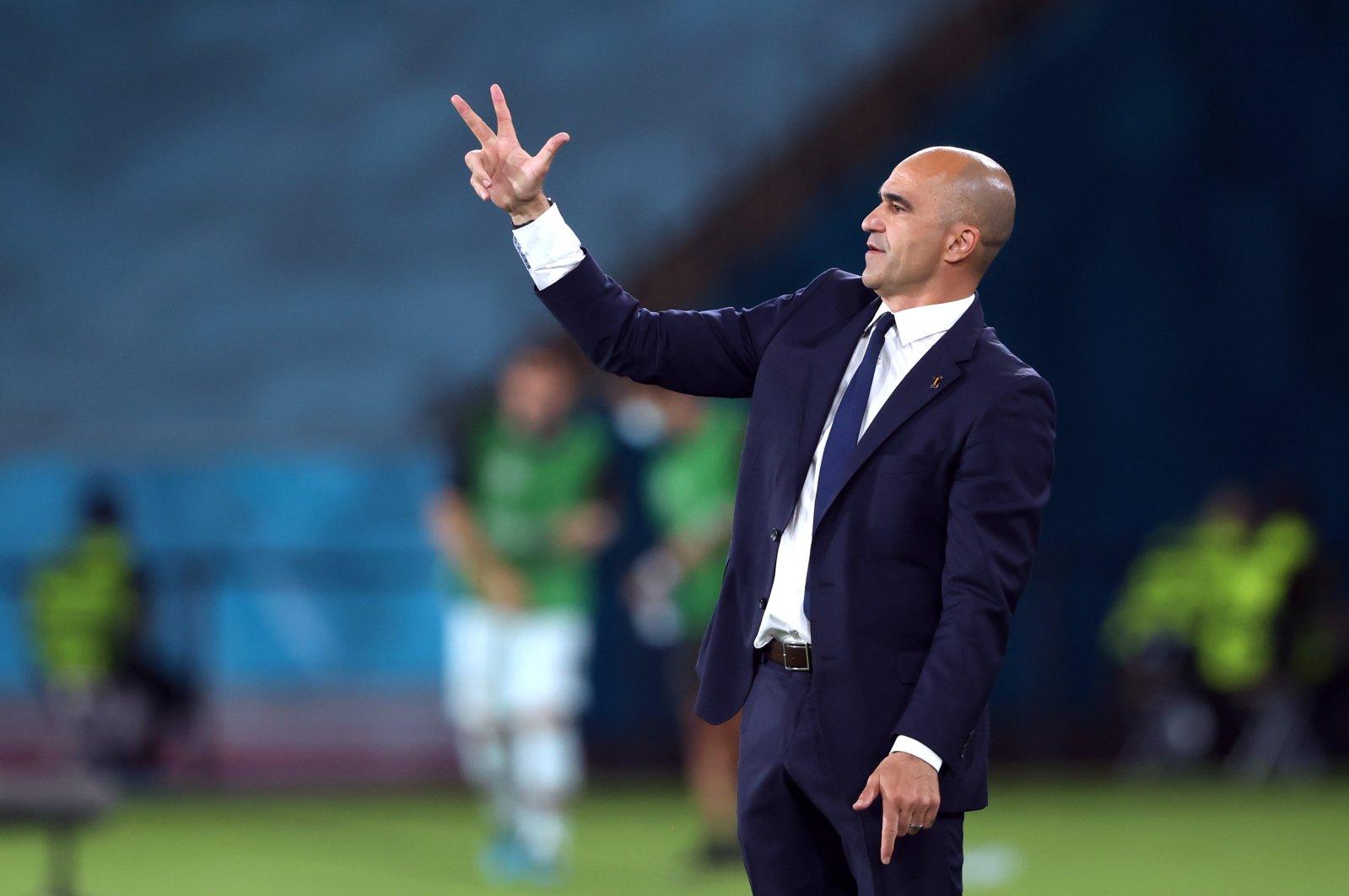 Belgium coach Roberto Martinez reacts during his side's Euro 2020, round of 16 match against Portugal, La Cartuja Stadium, Seville, Spain, June 27, 2021. (Reuters Photo)