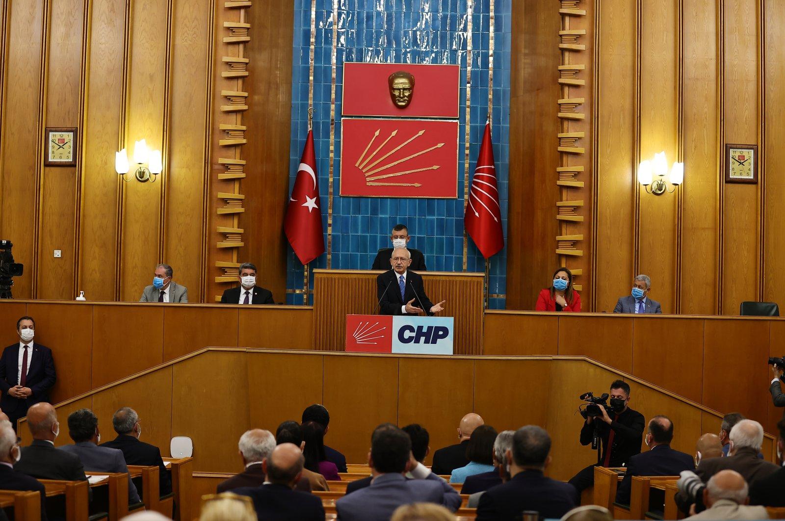 The main opposition Republican People's Party (CHP) leader Kemal Kılıçdaroğlu speaks during a party meeting in the Turkish Parliament, Ankara, Turkey, June 22, 2021. (AA Photo)