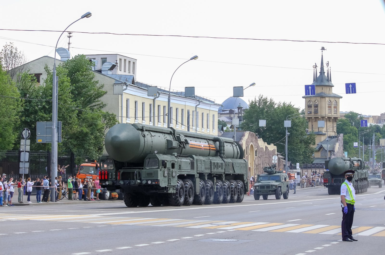 Russian intercontinental ballistic missile RS-24 Yars drives down Krasnaya Presnya street during Moscow Victory Day parade, Moscow, Russia, June 24, 2020. (Shutterstock Photo)