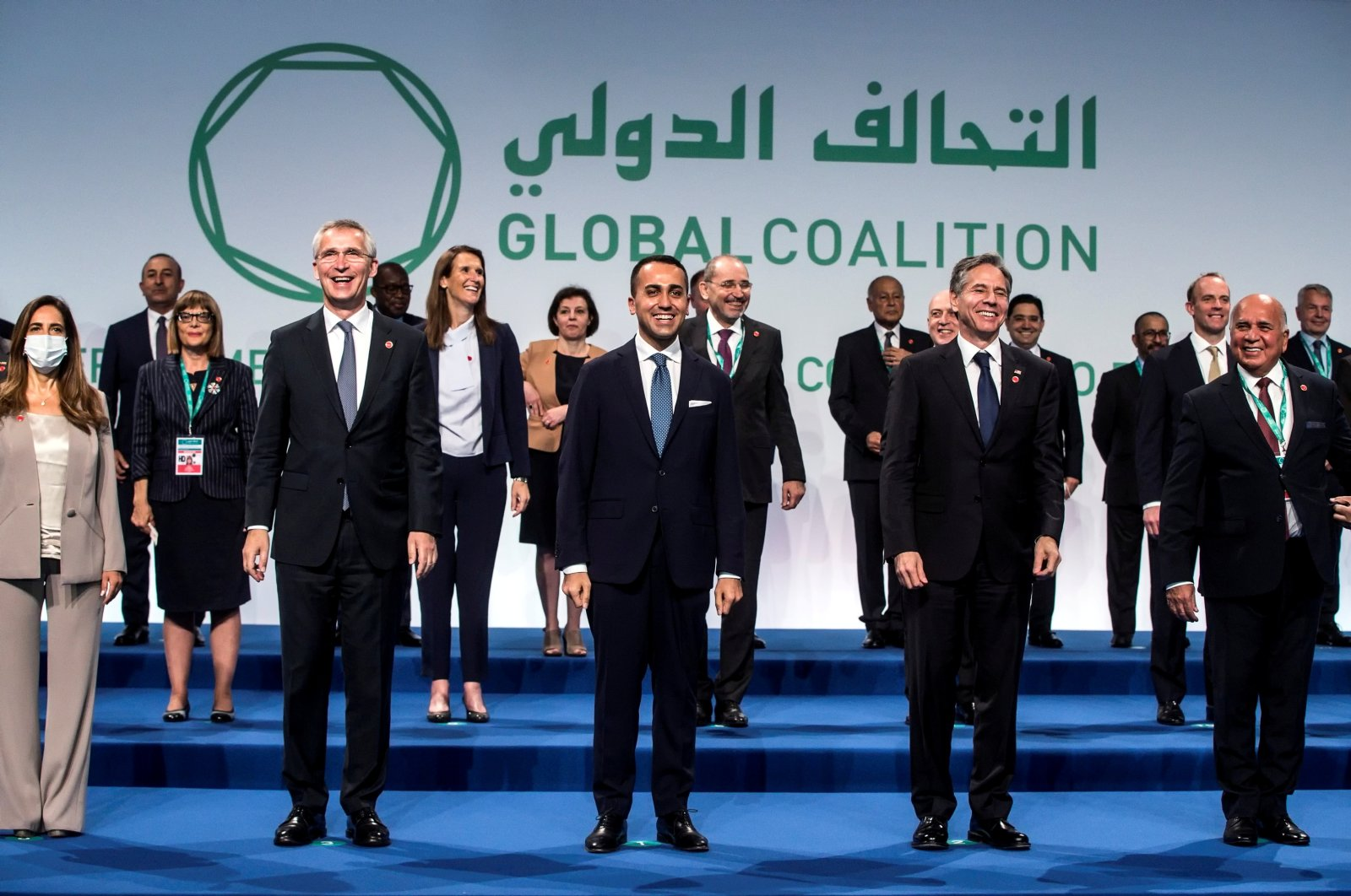 Participants pose for a group photo at the Ministerial Meeting of the Global Coalition to Defeat Daesh, in Rome, Italy, June 28, 2021. (REUTERS Photo)