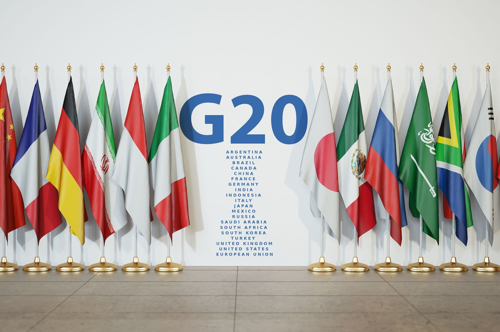 Flags of G-20 countries are seen during a meeting of the group. (Shutterstock Photo)