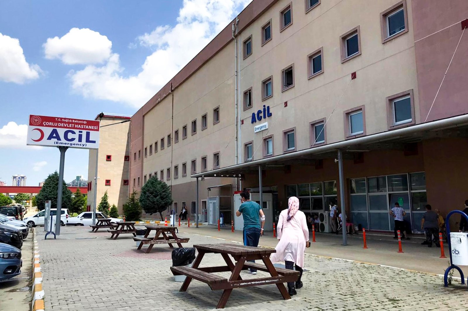 External view of a hospital in Çorlu district where victims are hospitalized, in Tekirdağ, northwestern Turkey, June 28, 2021. (DHA PHOTO)