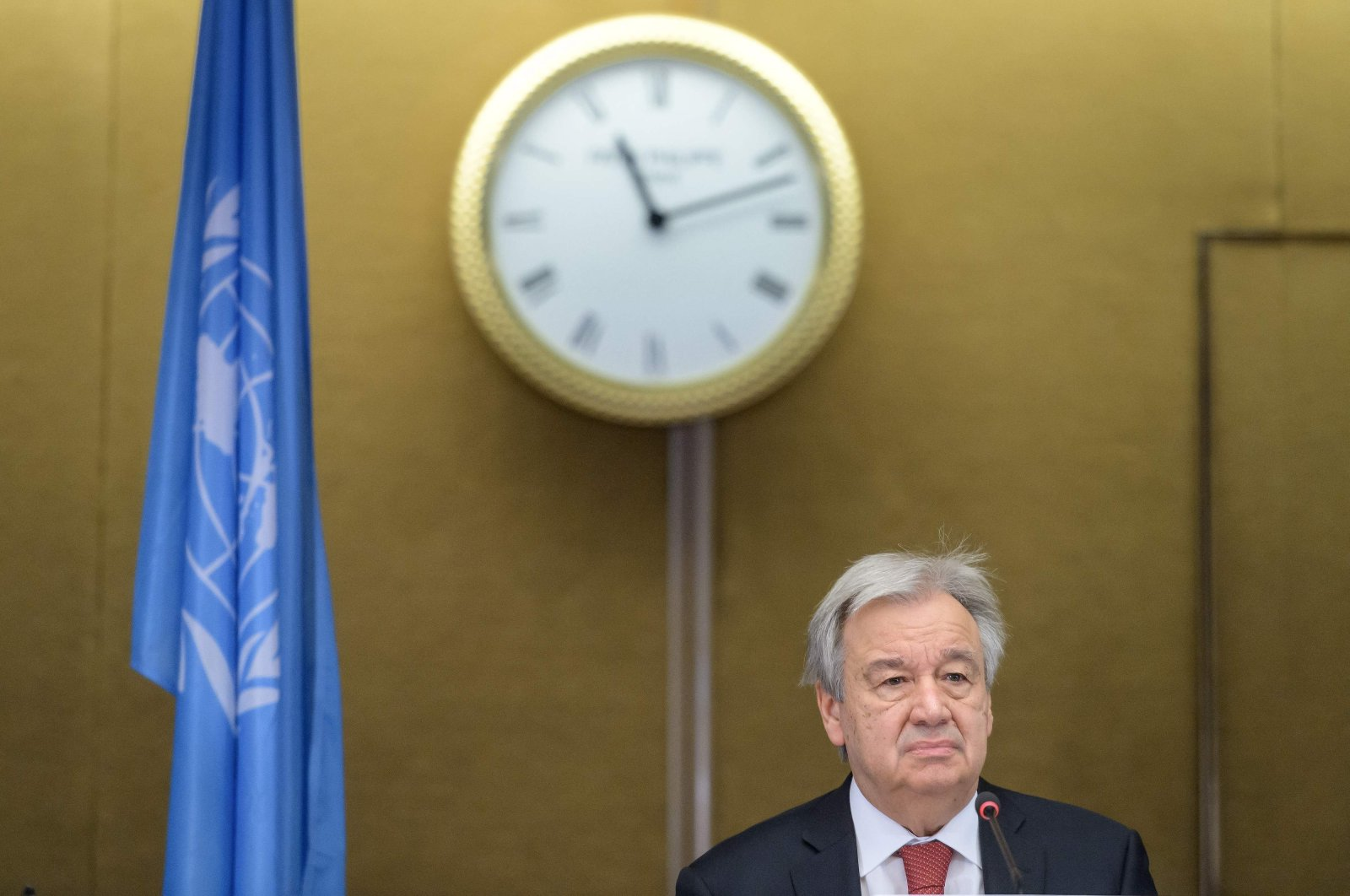 U.N. Secretary-General Antonio Guterres attends a news conference at the end of a 5 1 Meeting on Cyprus, April 29, 2021. (AFP File Photo)