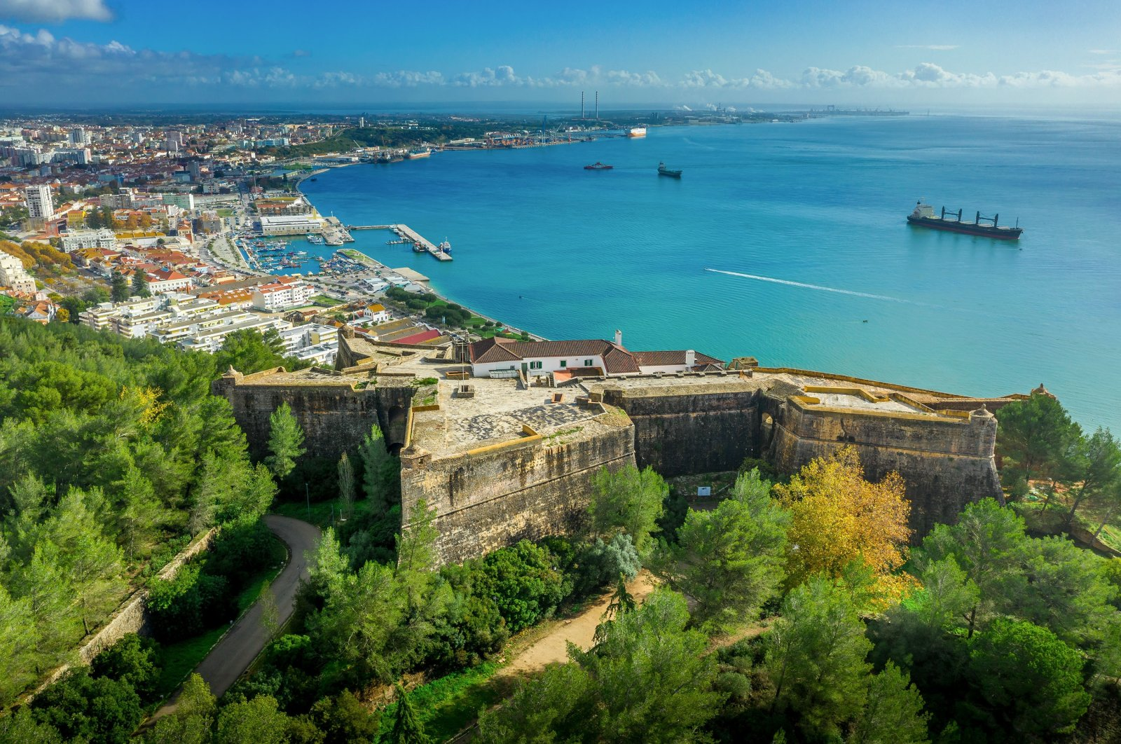An aerial view shows the star shaped fortress Sao Felipe, a historical military base protecting the city and the harbor, in Setubal, Portugal. (Shutterstock Photo)