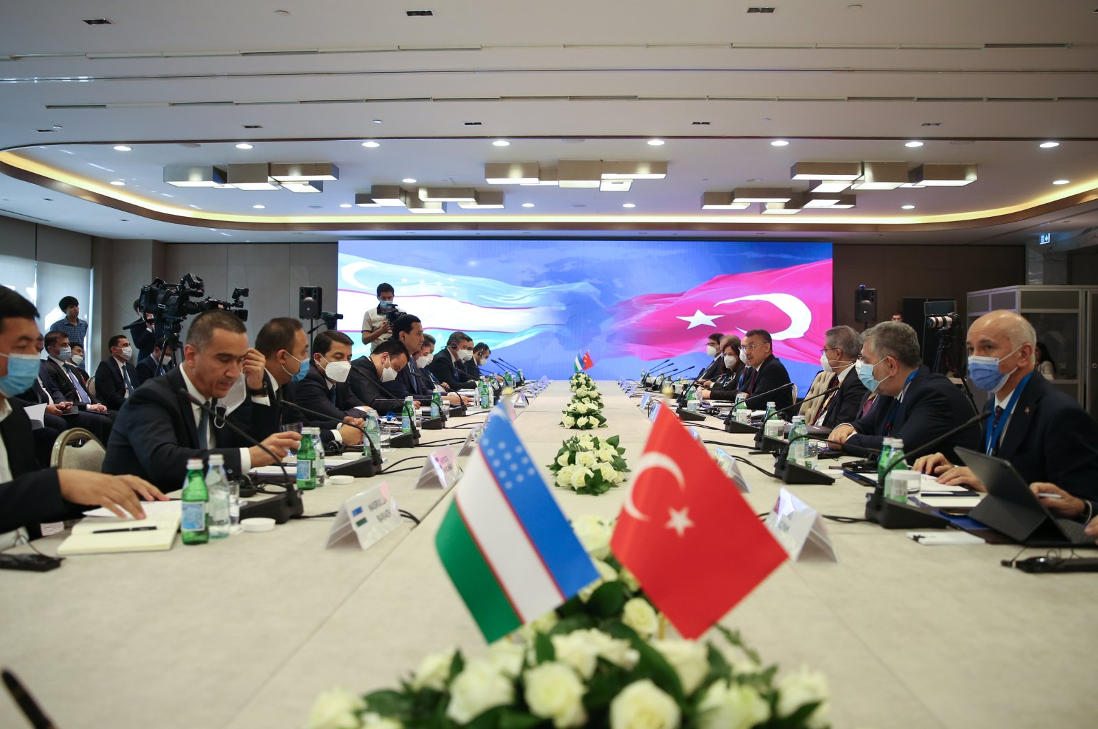 Turkish and Uzbek delegations meet at the 6th Meeting of Turkey-Uzbekistan Joint Economic Commission, Tashkent, Uzbekistan, June 28, 2021. (AA Photo)