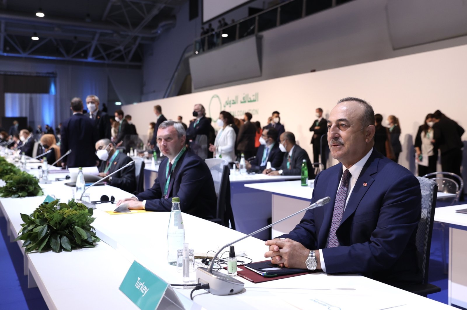 Foreign Minister Mevlüt Çavuşoğlu (R) attends the anti-Daesh coalition meeting in Rome, Italy, June 28, 2021. (AA Photo)