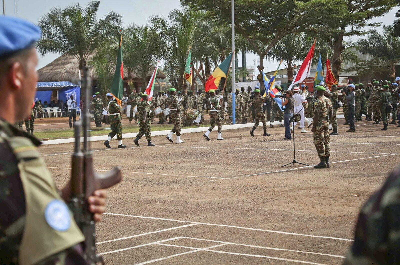 U.N. peacekeeping troops take part in a ceremony in the capital city of Bangui, Central African Republic, Sept. 15, 2014. (AP Photo)