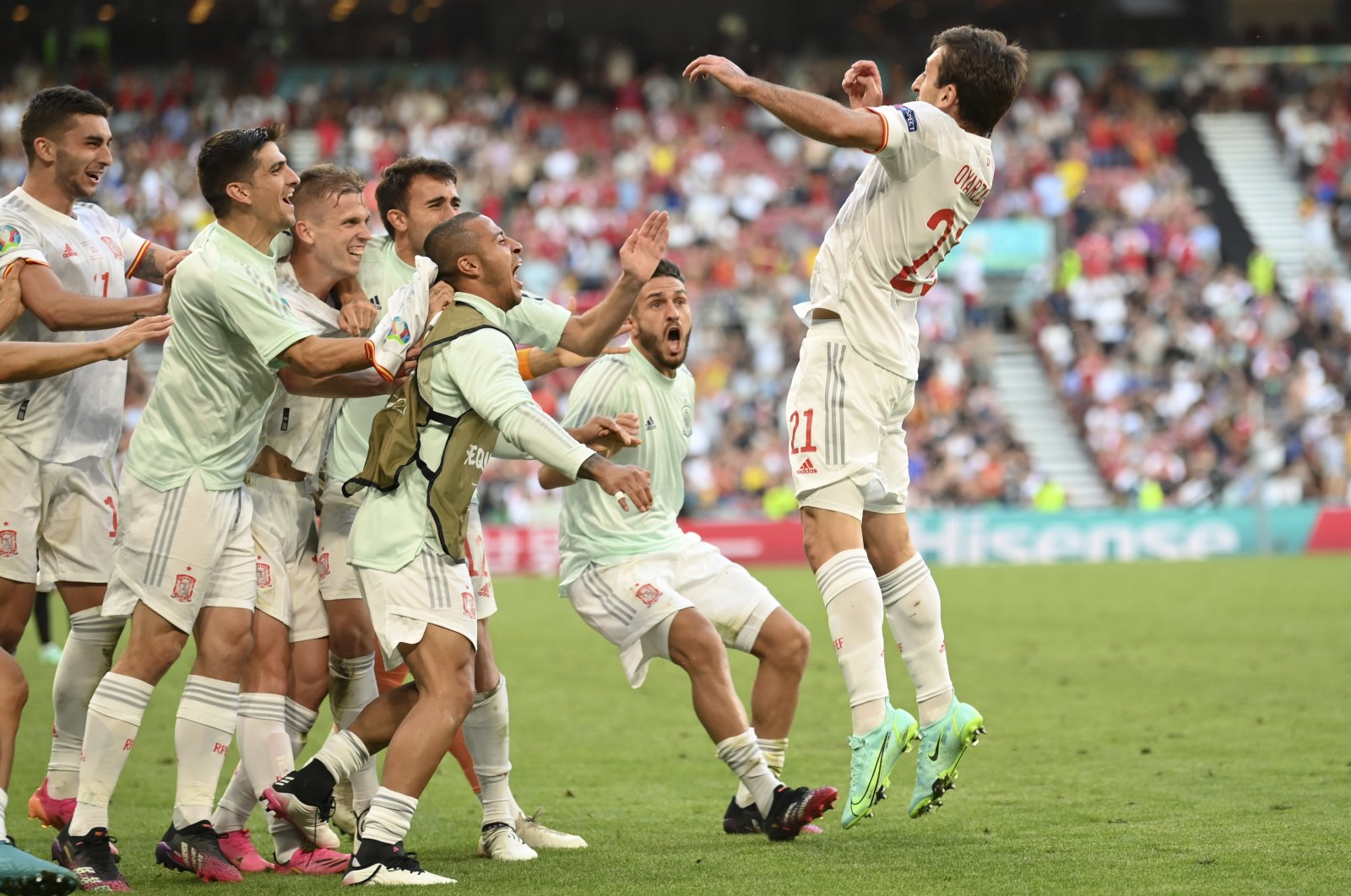 Spain's Mikel Oyarzabal (R) celebrates after scoring his side's fifth goal during the Euro 2020 soccer championship round of 16 match between Croatia and Spain at the Parken Stadium in Copenhagen, Denmark, June 28, 2021. (Pool Photo via AP)