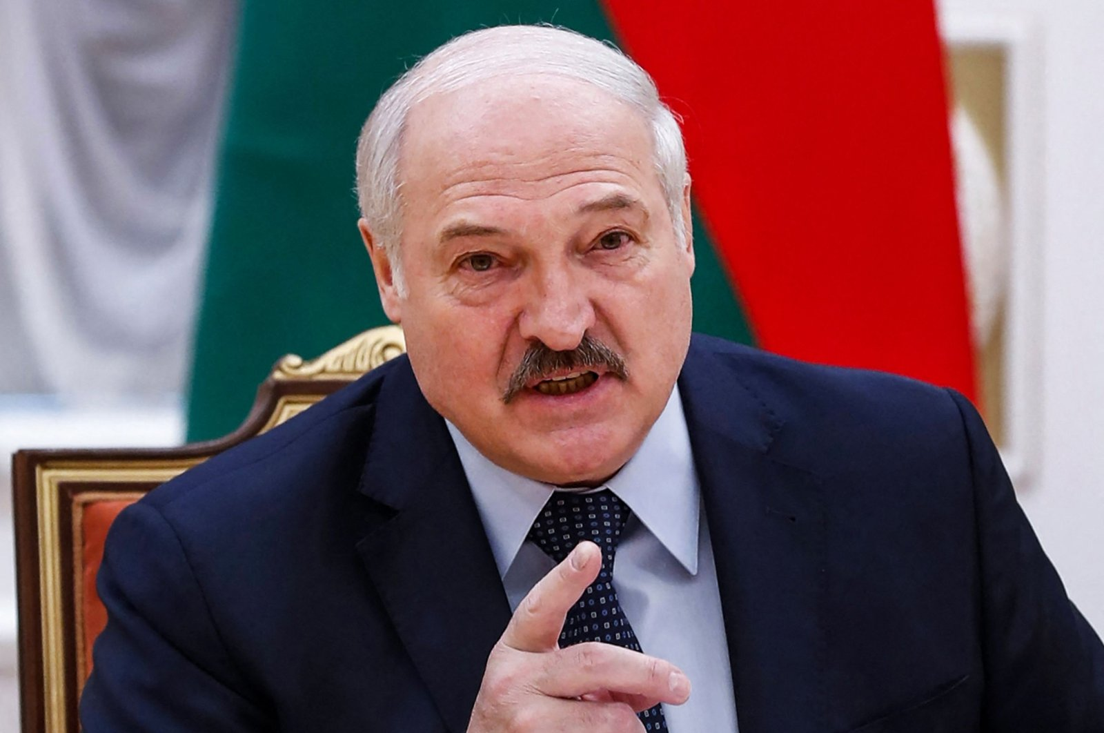 Belarusian President Alexander Lukashenko speaks during a meeting with Commonwealth of Independent States officials in Minsk, Belarus, May 28, 2021. (AFP File Photo)