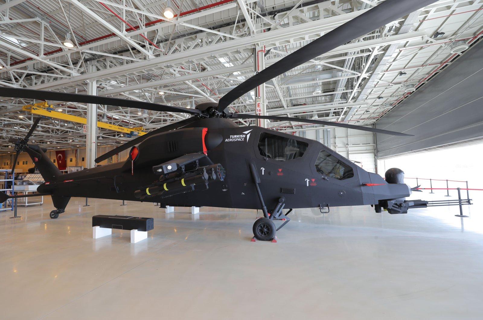 A T929 Atak 2 helicopter at the TAI compound, Ankara, Turkey, June 29, 2021. (IHA Photo)