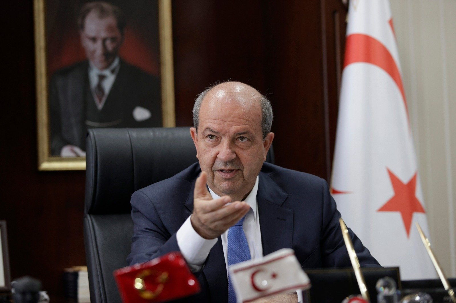 TRNC President Ersin Tatar gestures during an interview with TAK, in Lefkoşa, TRNC, June 29, 2021. (AA Photo)