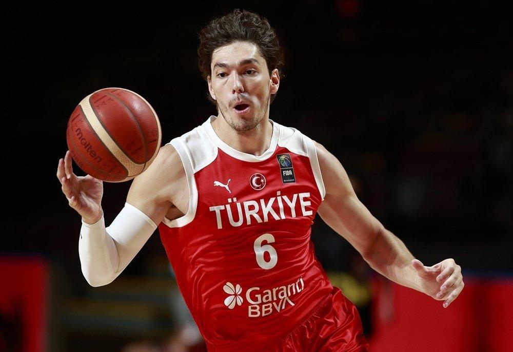 Cleveland Cavaliersforward Cedi Osman in action for Turkey in the FIBA Men's Olympic Qualifiers opener against Uruguay, at the Victoria Memorial Arena, Victoria, Canada, June 29, 2021. (IHA Photo)