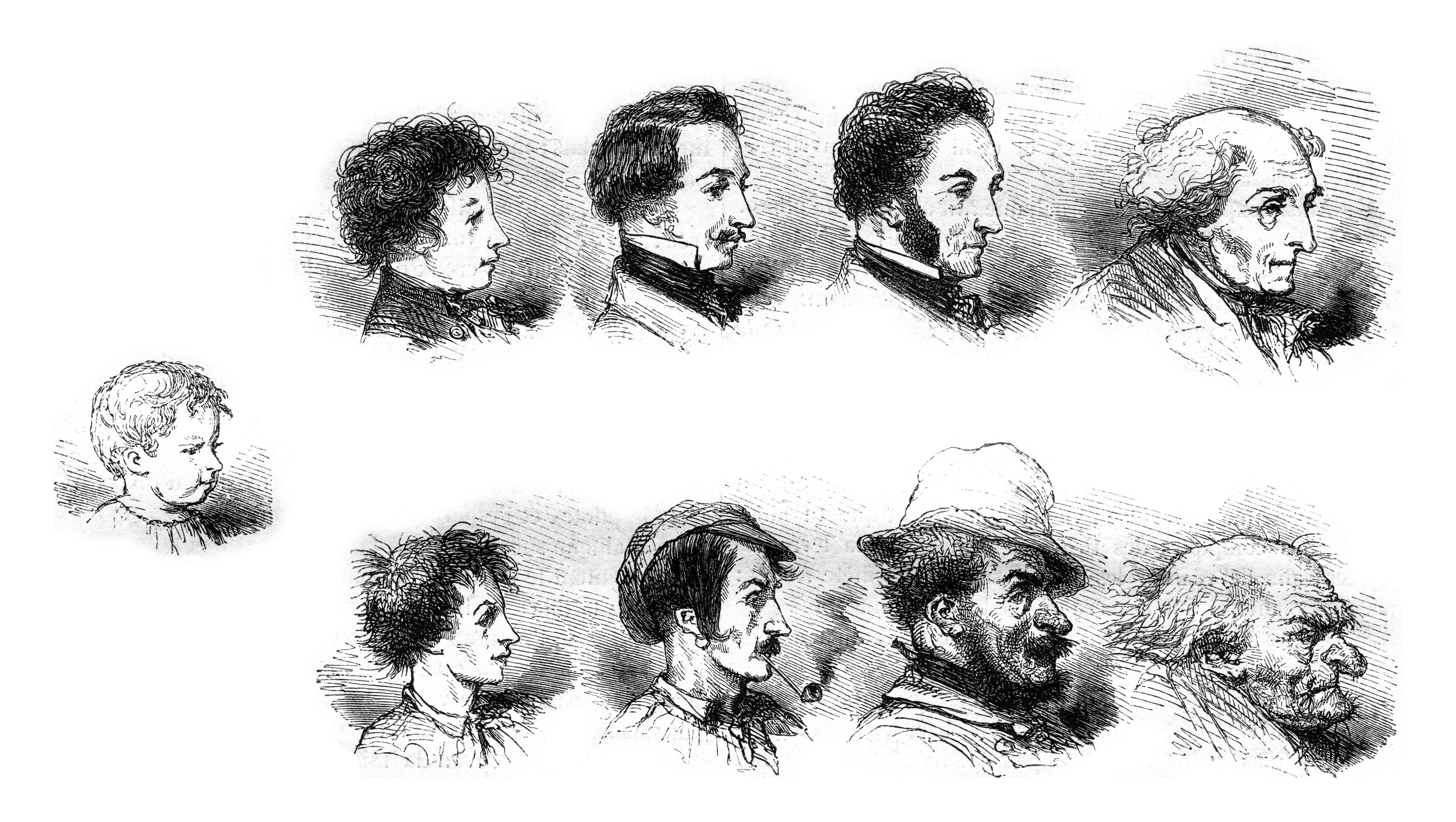 A vintage engraved illustration shows the influence of the morality or immorality of the physiognomy. (Shutterstock Photo)