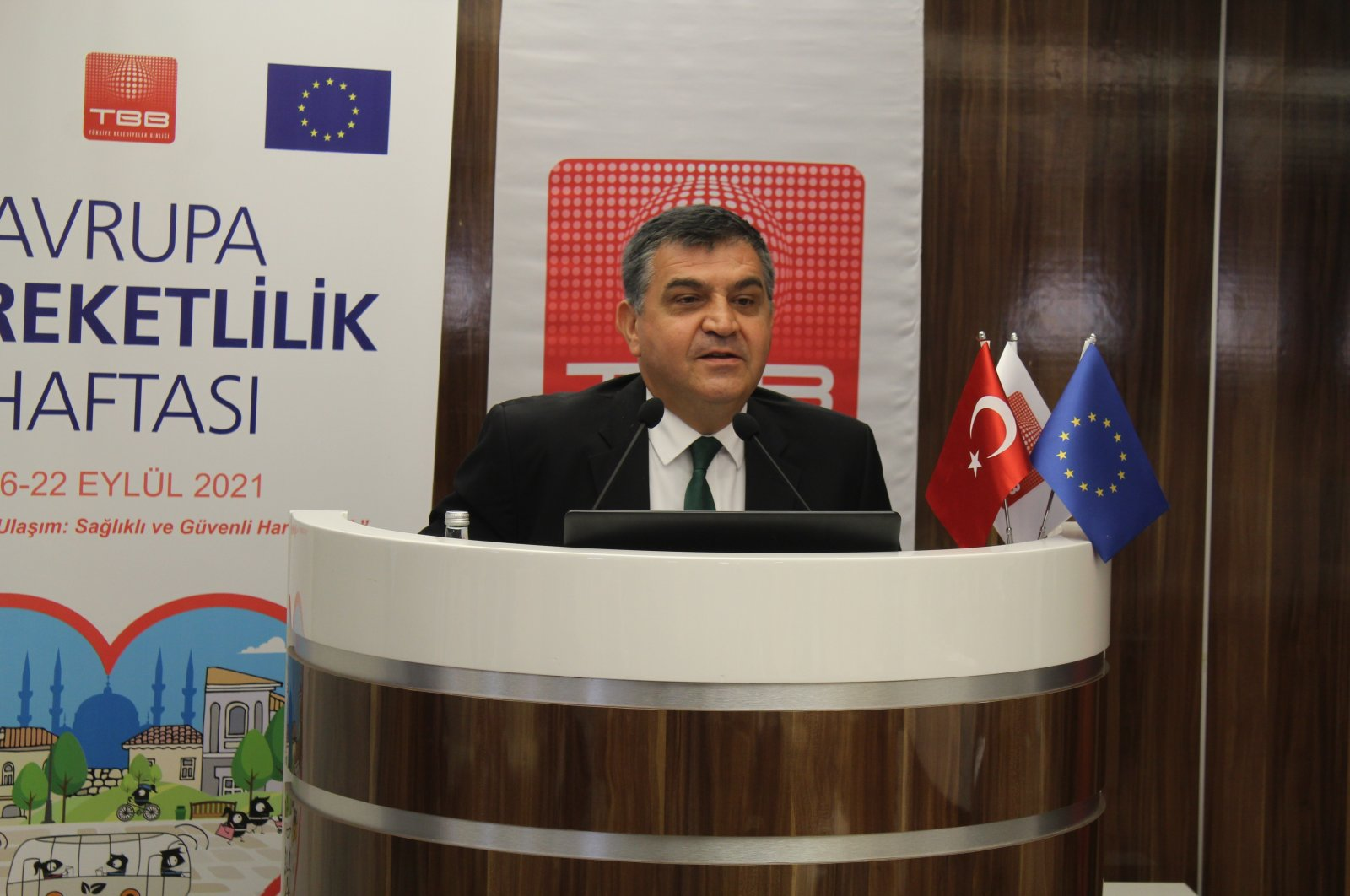 Deputy FM Faruk Kaymakcı speaks at an event to promote mobility for health, June 29, 2021. (AA Photo)