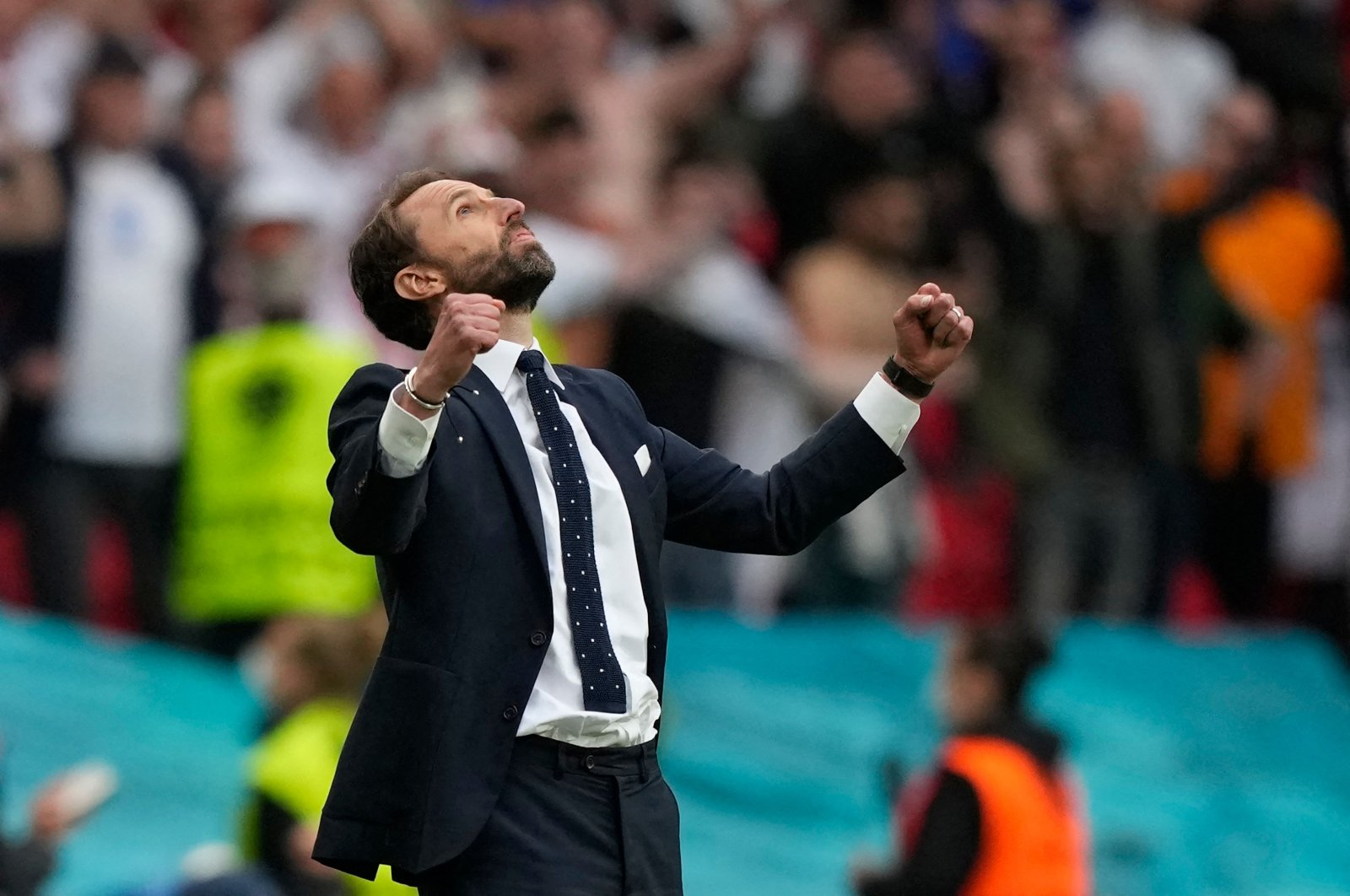 England's coach Gareth Southgate celebrates his team's victory at the end of the UEFA EURO 2020 round of 16 match against Germany at Wembley Stadium, London, England, June 29, 2021. (AFP Photo)
