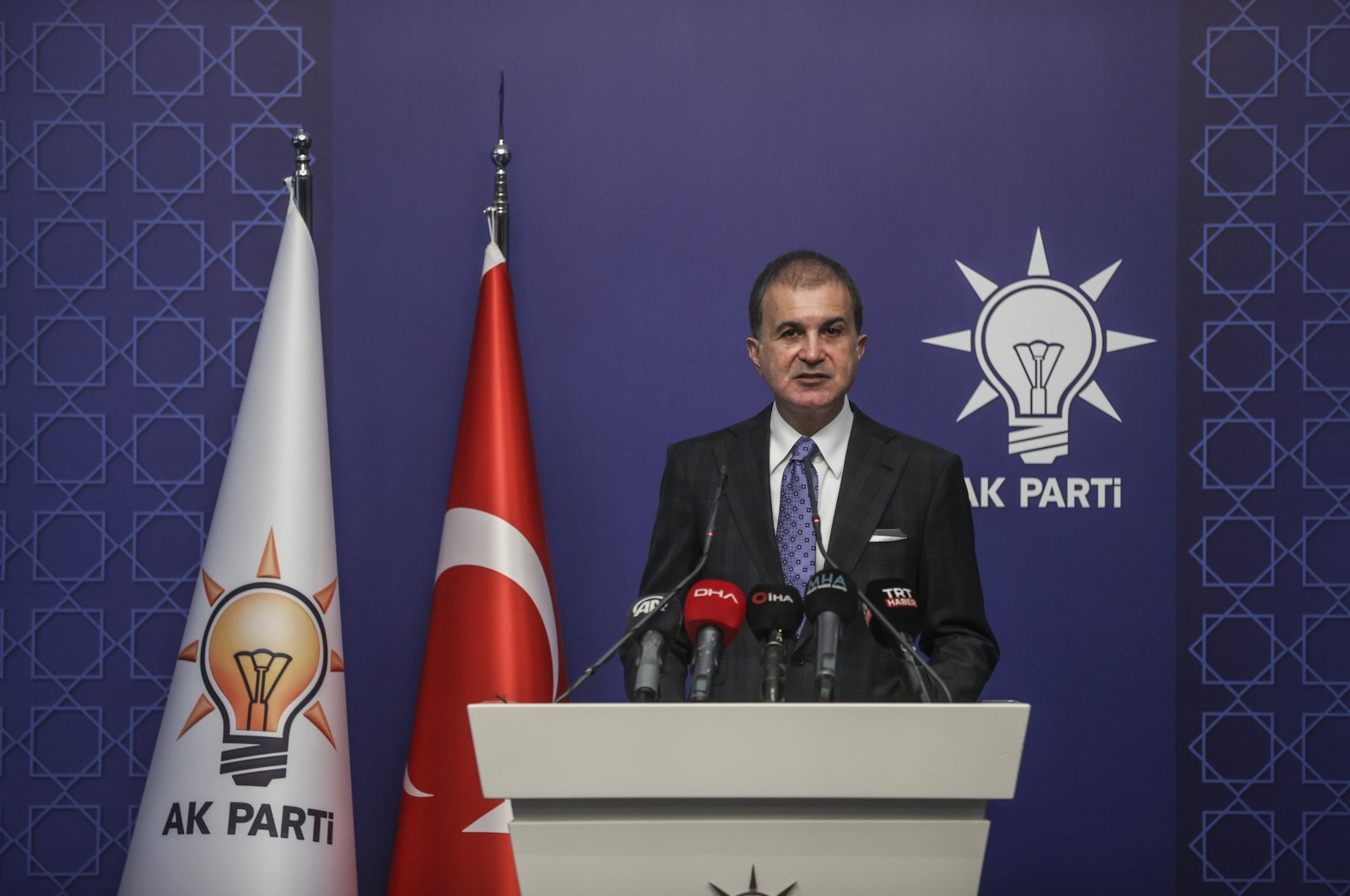 The ruling Justice and Development Party (AK Party) Spokesperson Ömer Çelik speaks at a press conference in the capital Ankara, Turkey, June 28, 2021. (AA Photo)