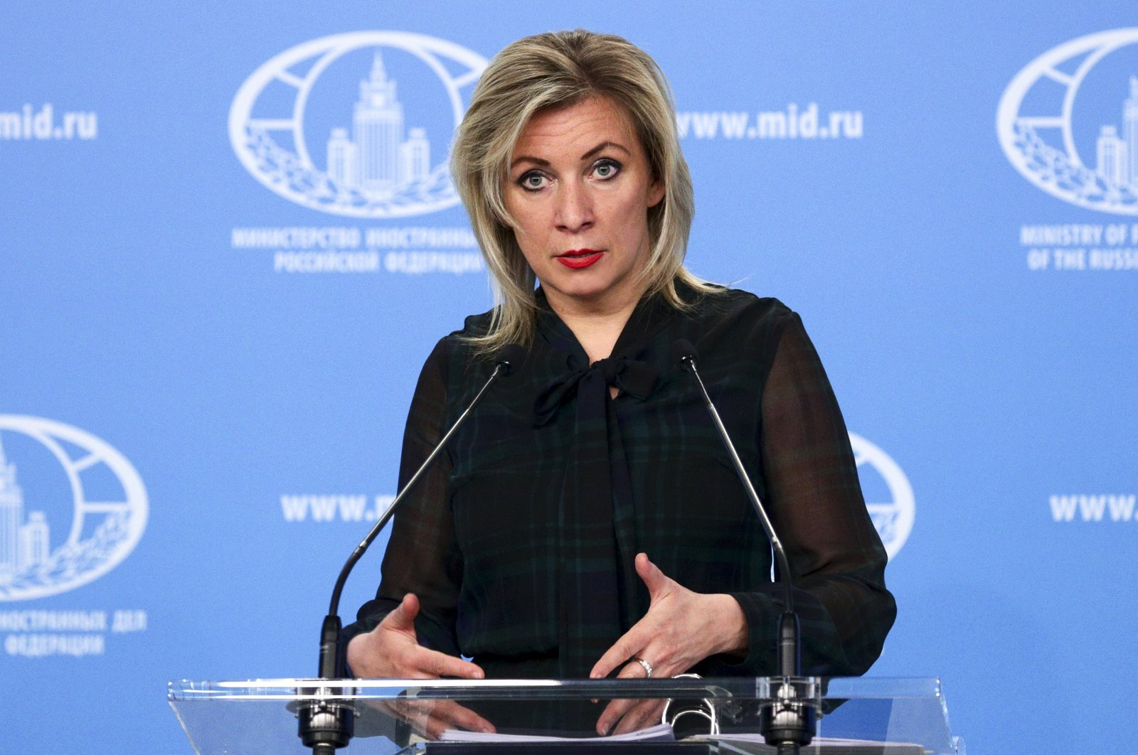 Russian Foreign Ministry spokesperson Maria Zakharova gestures while speaking during briefing about foreign policy in Moscow, Russia, March 12, 2021. (Russian Foreign Ministry Press Service via AP)