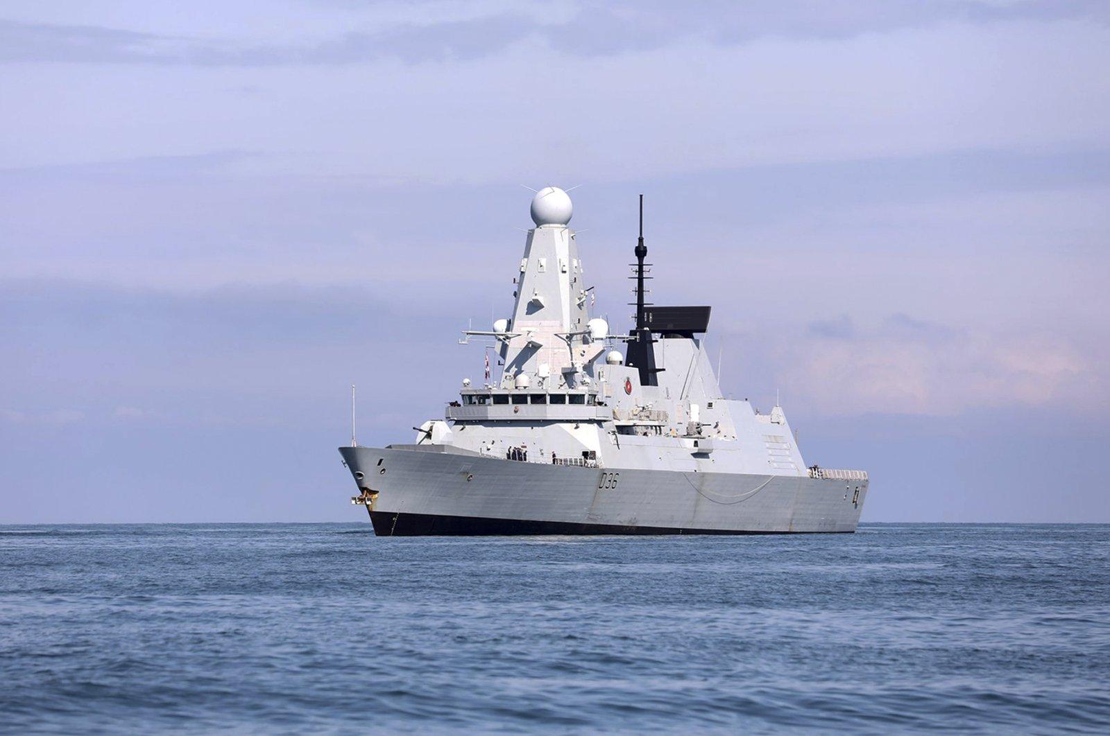The British destroyer HMS Defender arrives at the port of Batumi, Georgia, June 26, 2021. (AP Photo)