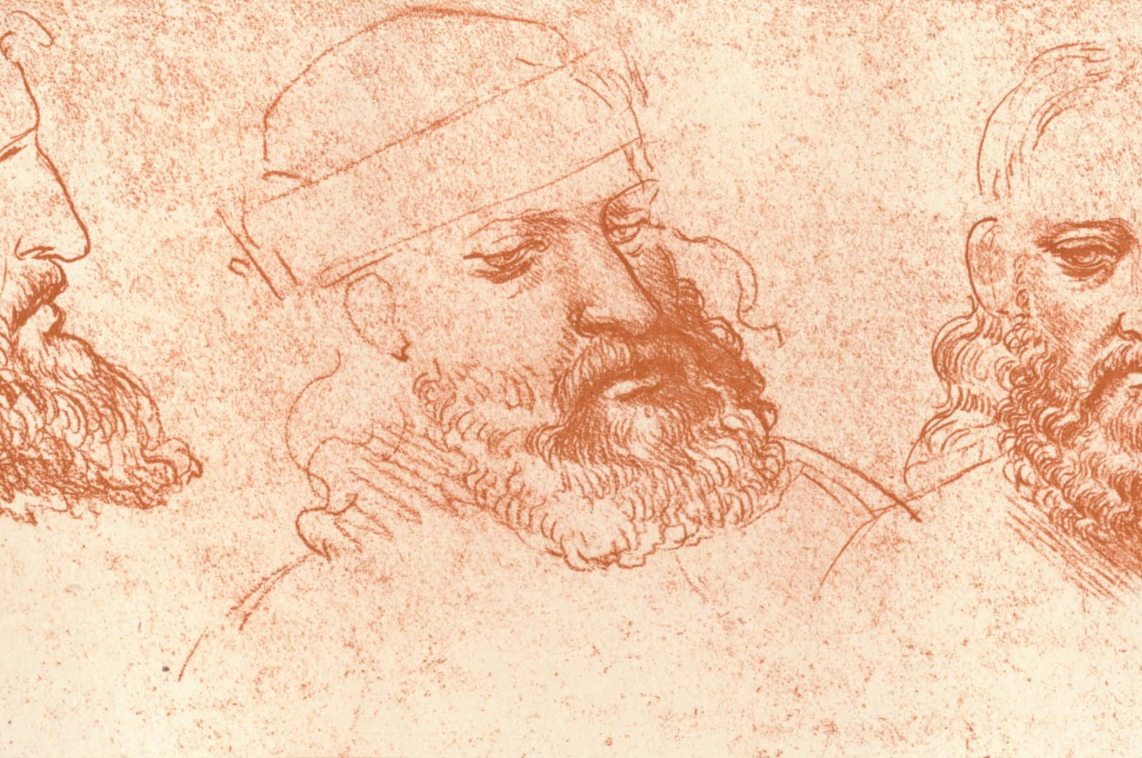 """Drawing of oriental heads in red chalk from """"The Literary Works of Leonardo Da Vinci Vol. II"""" by Jean Paul Richter. (Getty Images)"""