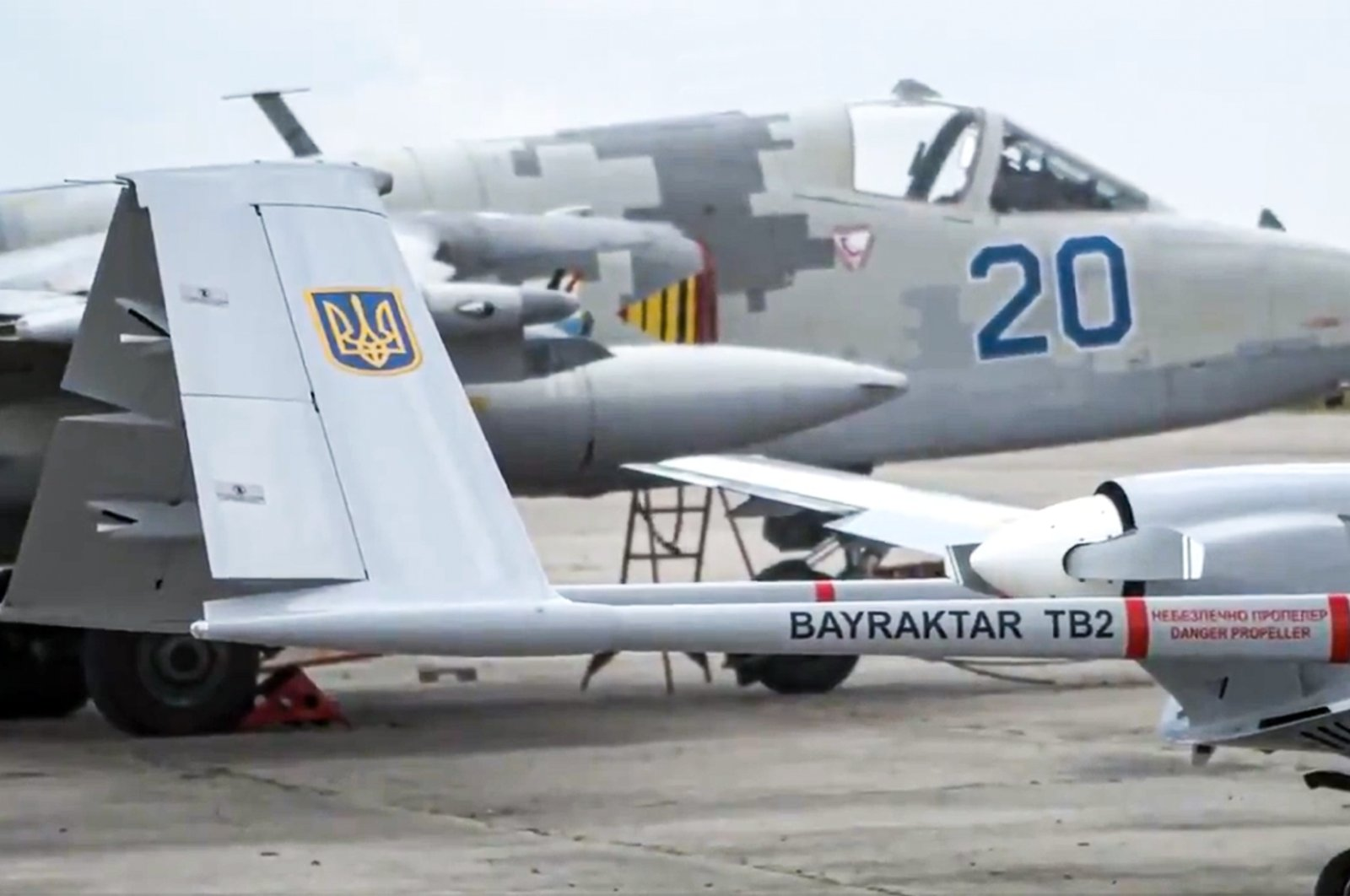A screen grab shows a Bayraktar TB2 UCAV owned by the Ukrainian army during the Sea Breeze military exercise in the Black Sea, June 30, 2021.