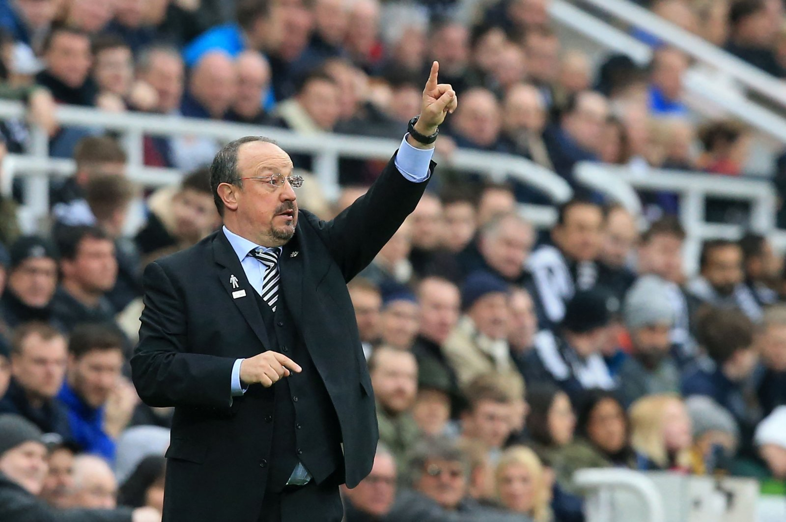 Then Newscastle United manager Rafael Benitez gestures during a Premier League match against Crystal Palace at St. James' Park, in Newcastle upon Tyne, England, April 6, 2019. (AFP Photo)