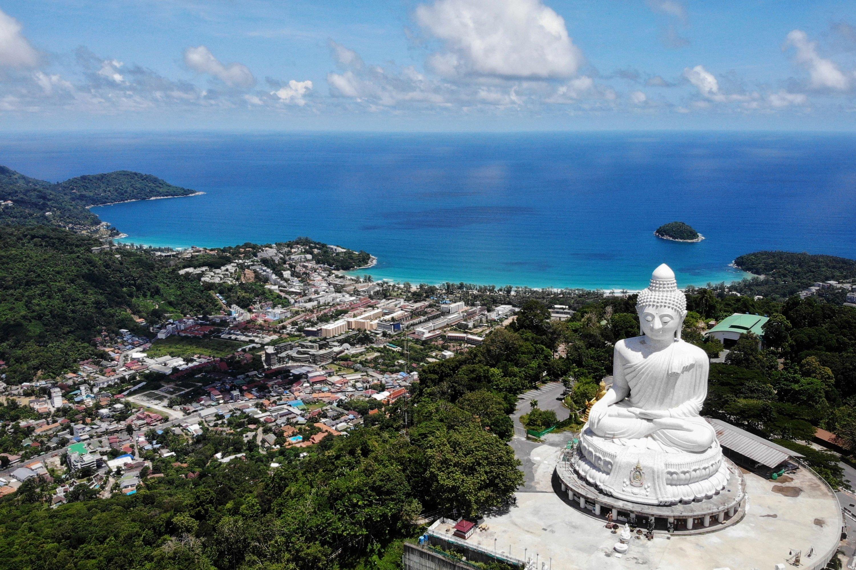 An aerial photograph of the Big Buddha and Kata Beach behind it in Phuket, Thailand, June 30, 2021. (AP Photo)