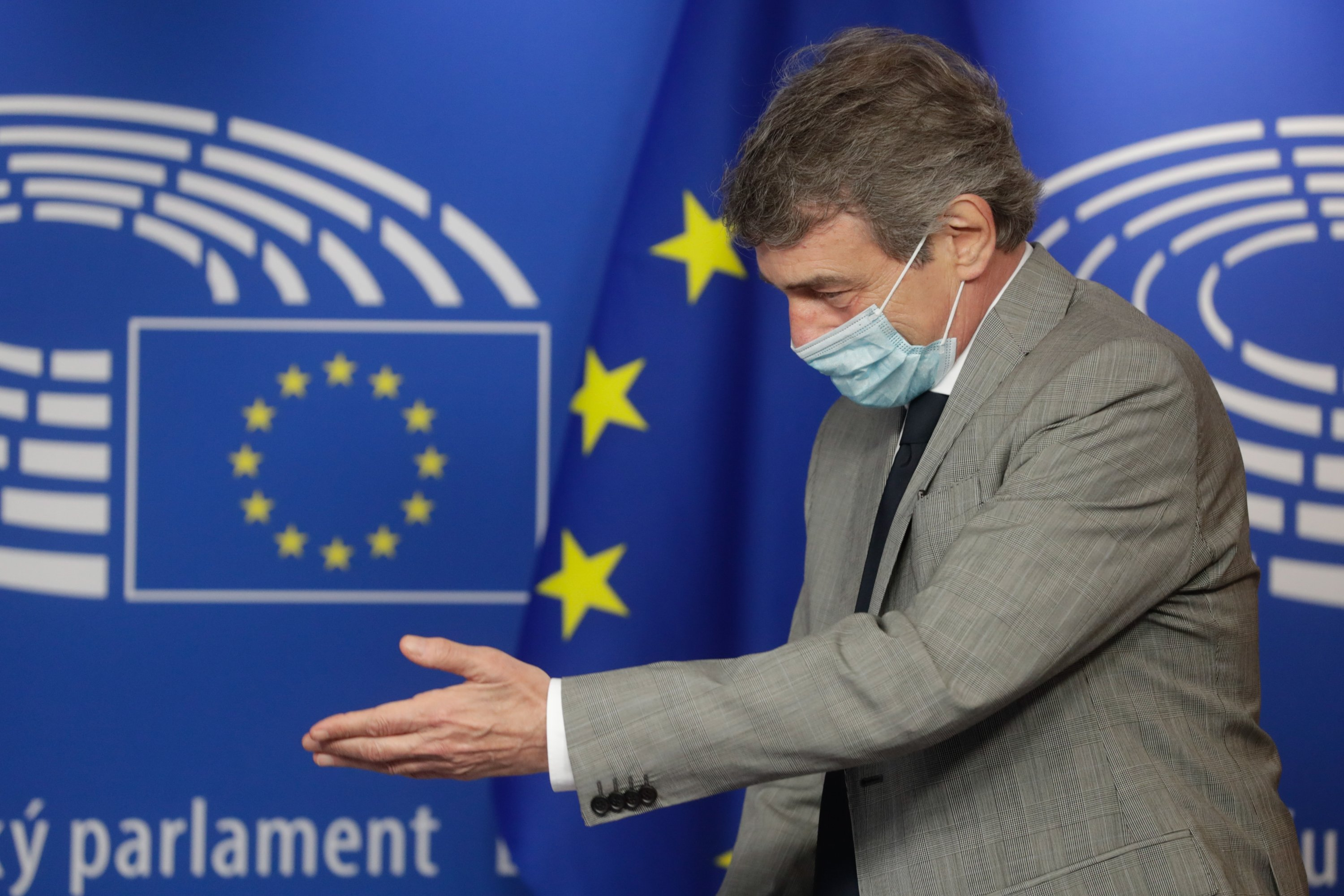 European Parliament President David Sassoli about to sign one COD Lex (European Climate Law) in Brussels, Belgium, June 30, 2021. (EPA Photo)