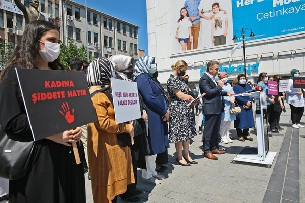 People protest the attack in Istanbul, Turkey, June 9, 2021. (PHOTO BY ŞERİF CAN)
