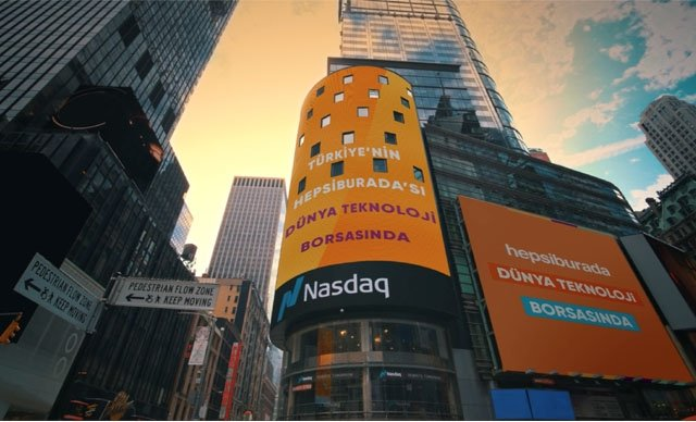 The logo of Hepsiburadais pictured on the display outside the Nasdaq Market Site in Times Square on the day of the company's IPO in New York, U.S., July 1, 2021. (DHA Photo)