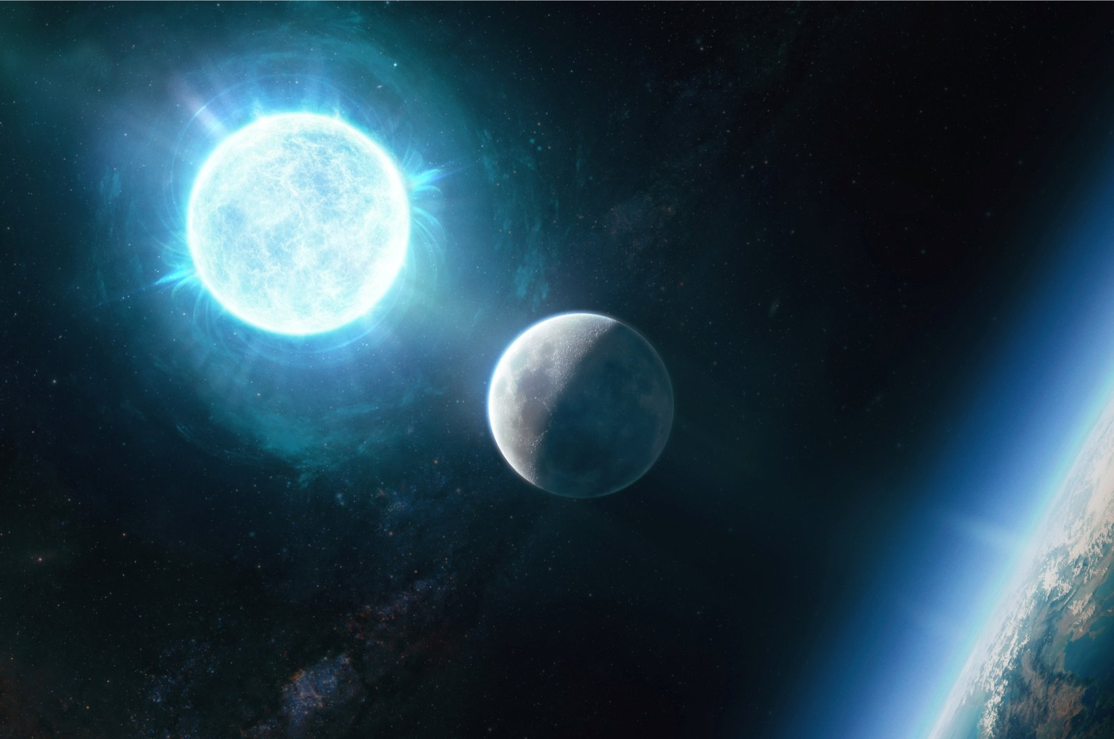 A newfound small white dwarf, called ZTF J1901 1458 and located 130 light-years from Earth, that is slightly larger than the size of the moon in diameter but 1.35 times the mass of our sun, making it both the smallest in size and largest in mass of any known white dwarf is seen in an undated illustration. (Giuseppe Parisi via Reuters)