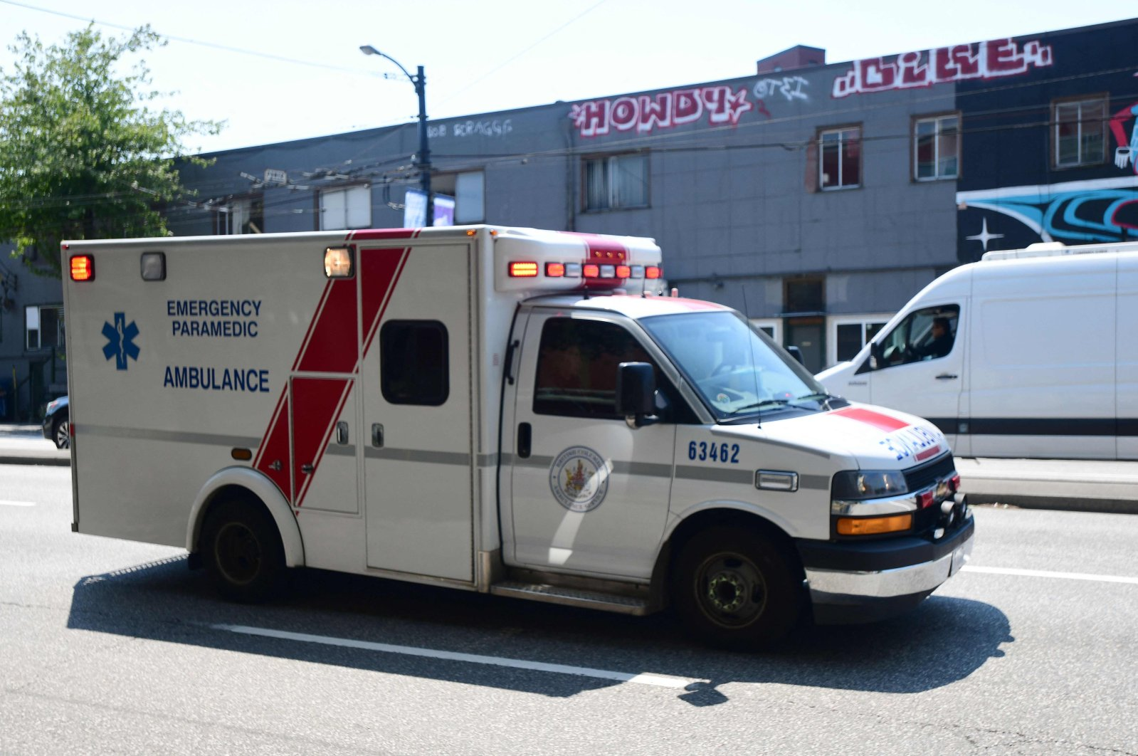 An ambulance is seen during the extreme hot weather in Vancouver, British Columbia, Canada, June 30, 2021. (AFP Photo)